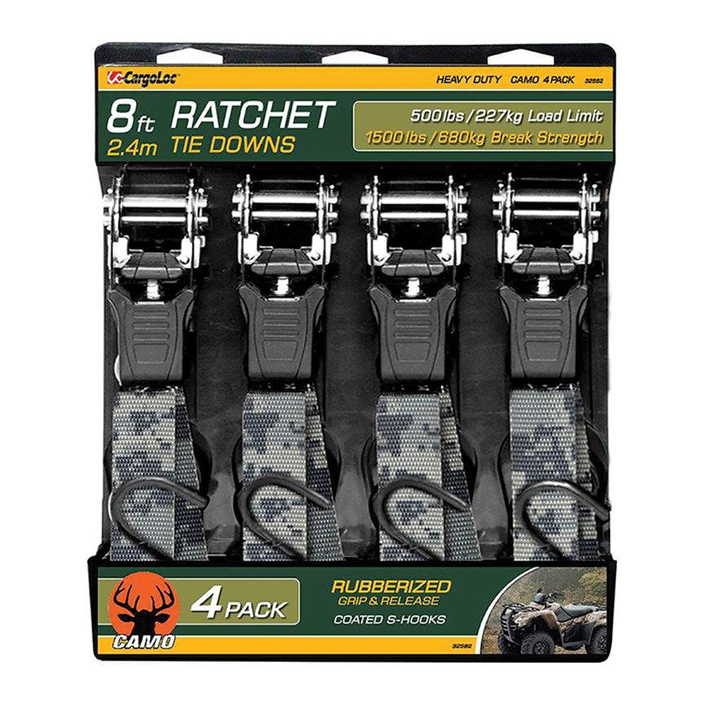 Camo 8'L x 1″W Ratchet Tie Downs, 4-Pack