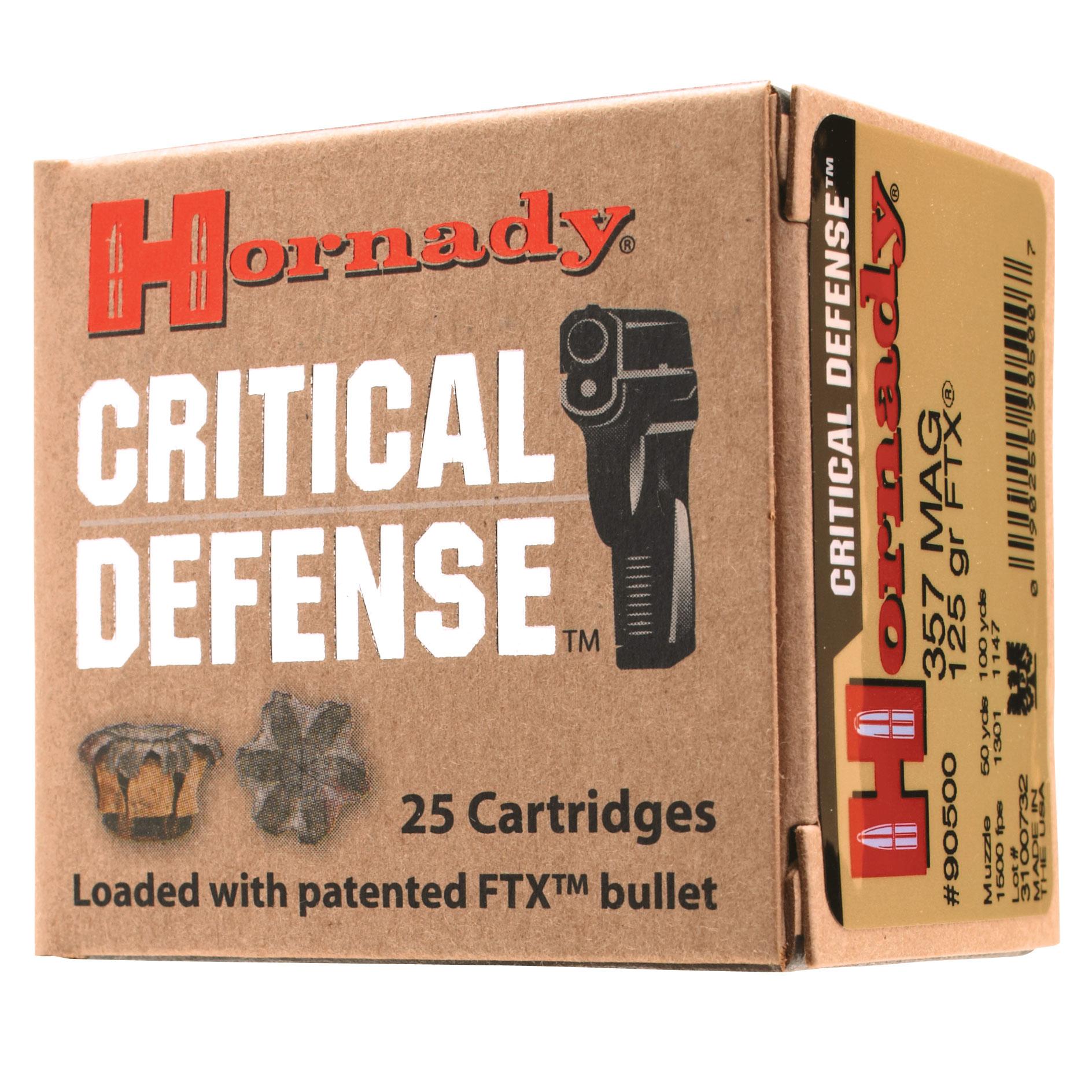 Hornady Critical Defense Handgun Ammo, 9mm Luger, 115-gr, FTX, 25 Rounds