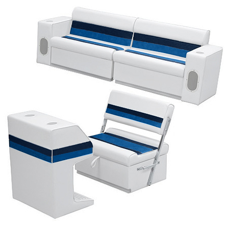 Deluxe Pontoon Furniture w/Toe Kick Base - Rear Group 7 Package, White/Navy/Blue