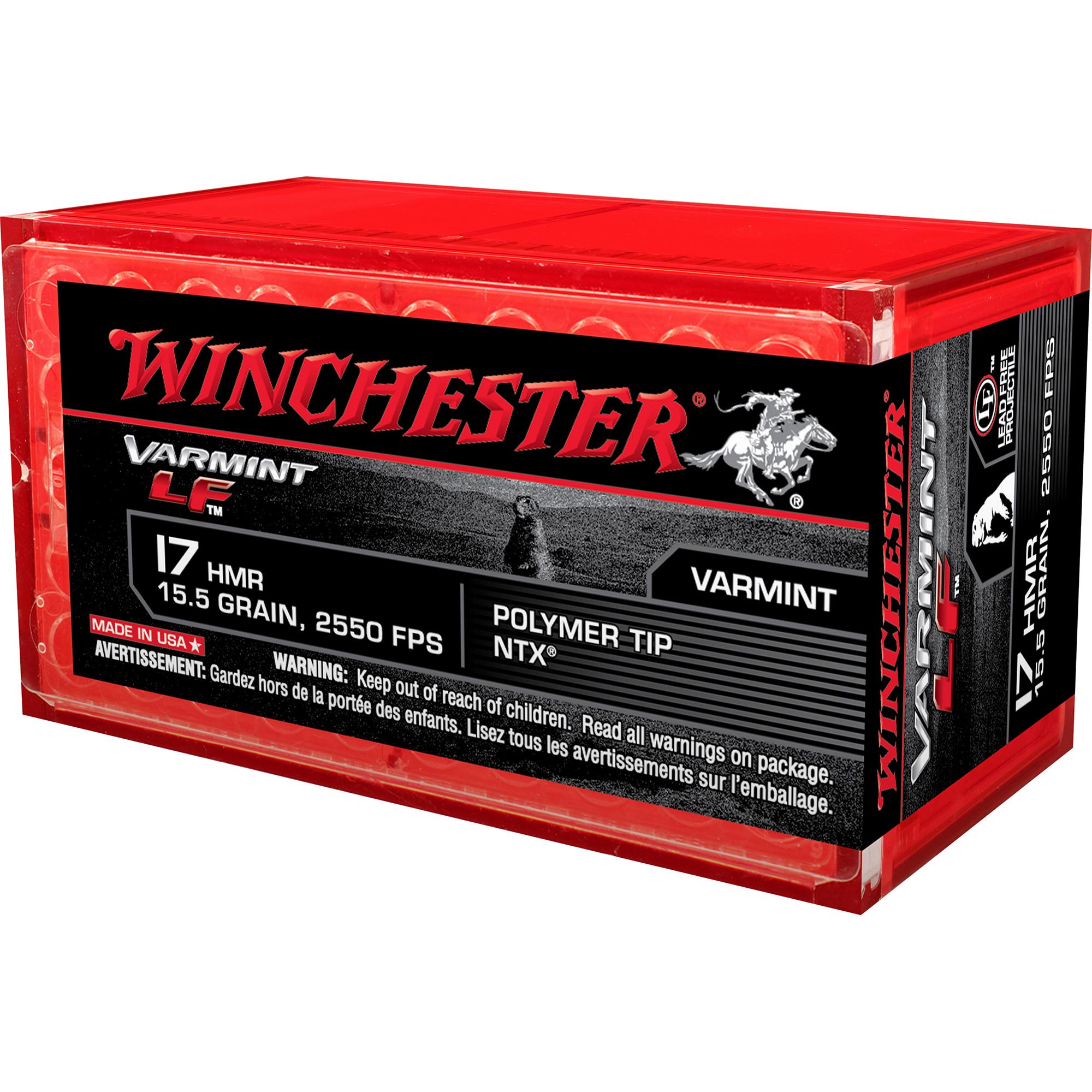 Winchester Varmint LF Rimfire Ammo, .17 HMR, 15.5-gr, NTX Lead Free