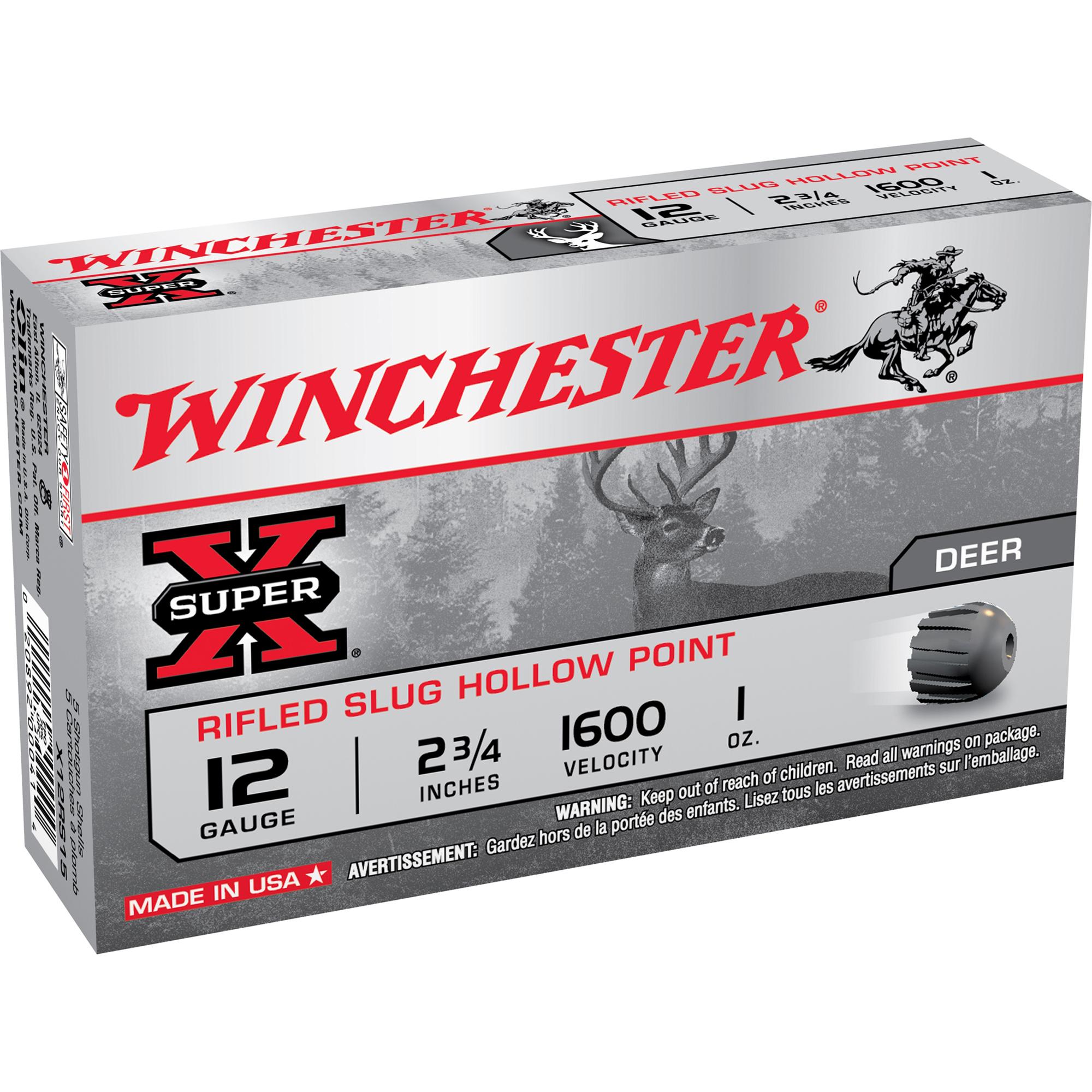 Winchester Super-X Rifled Slug Shotshells, 12-ga, 2-3/4″, 1-oz.