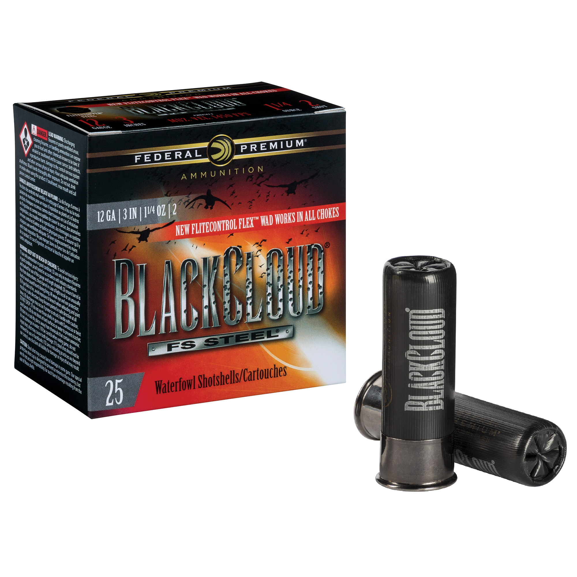 Federal Premium Black Cloud FS Steel Loads, 12-ga, 3″, 1-1/4 oz, #4