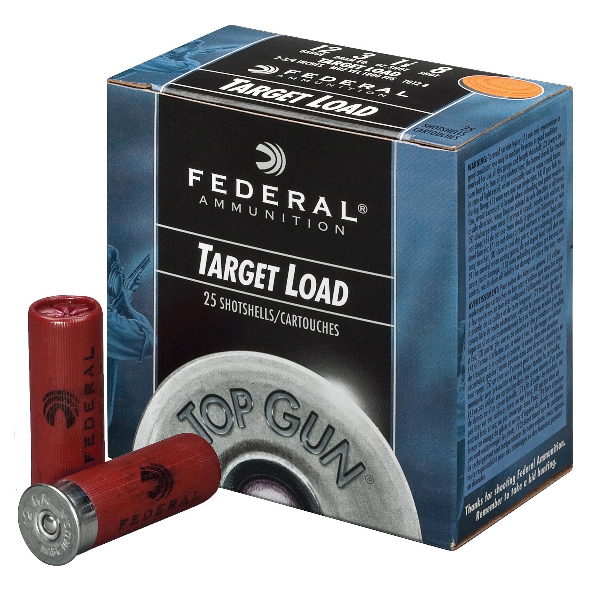 Federal Top Gun Shotshell Target Loads, 12-ga, 2-3/4″, 1-1/8 oz, #8