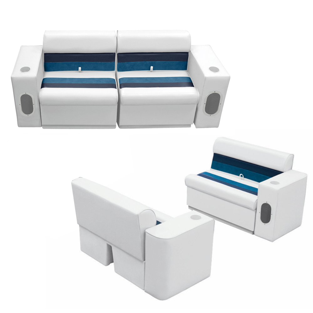 Deluxe Pontoon Furniture w/Toe Kick Base, Complete Boat Package, White/Navy/Blue