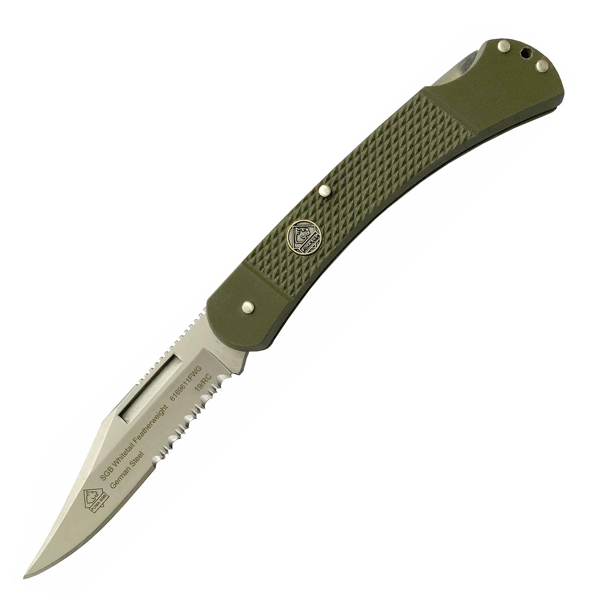 Puma SGB Whitetail Featherweight Folding Knife, OD Green