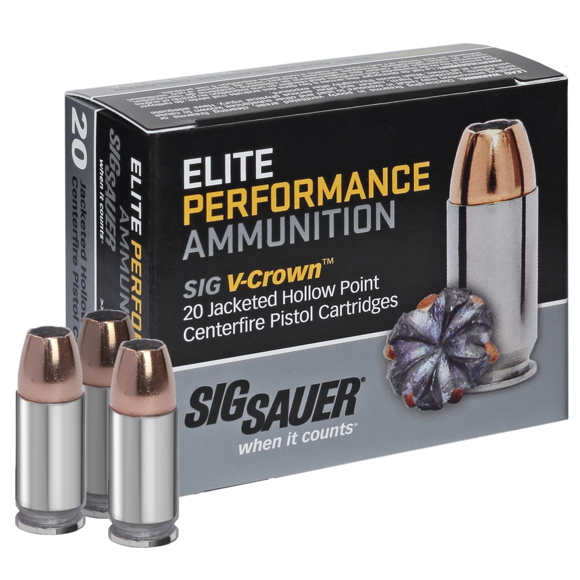 SIG Sauer Elite Performance V-Crown Ammo, 9mm Luger, 115-gr, JHP