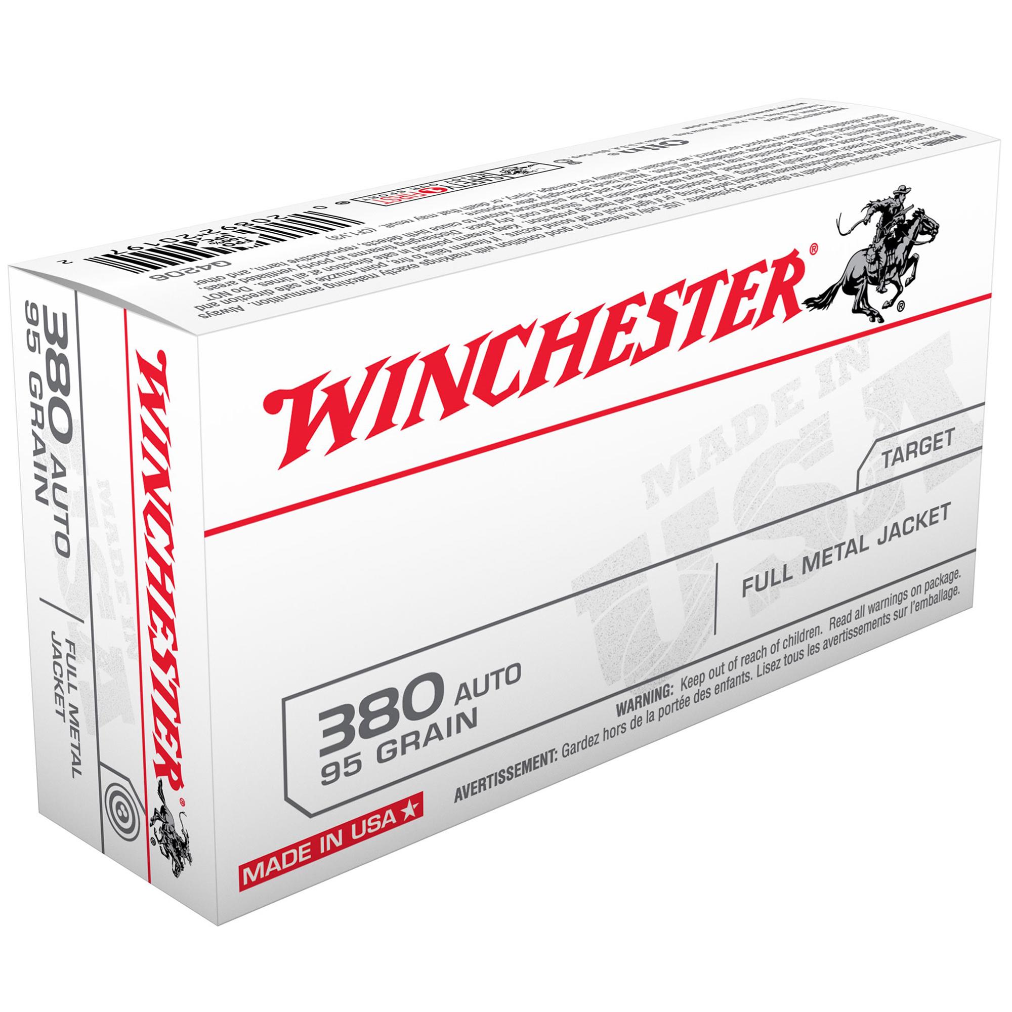 Winchester USA Handgun Ammo, .380 ACP, 95-gr., FMJ