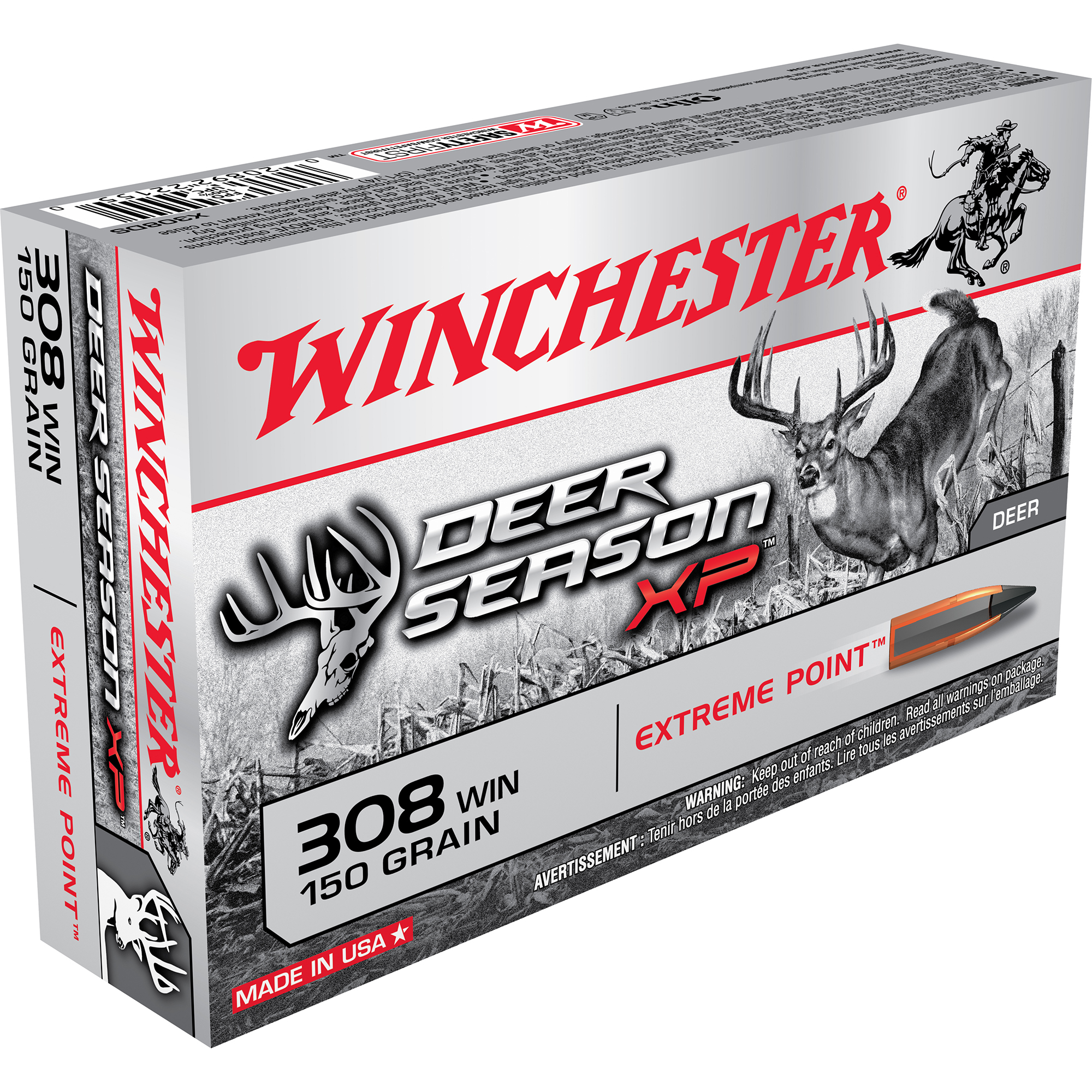 Winchester Deer Season XP Rifle Ammo, .308 Win, 150-gr, Extreme Point