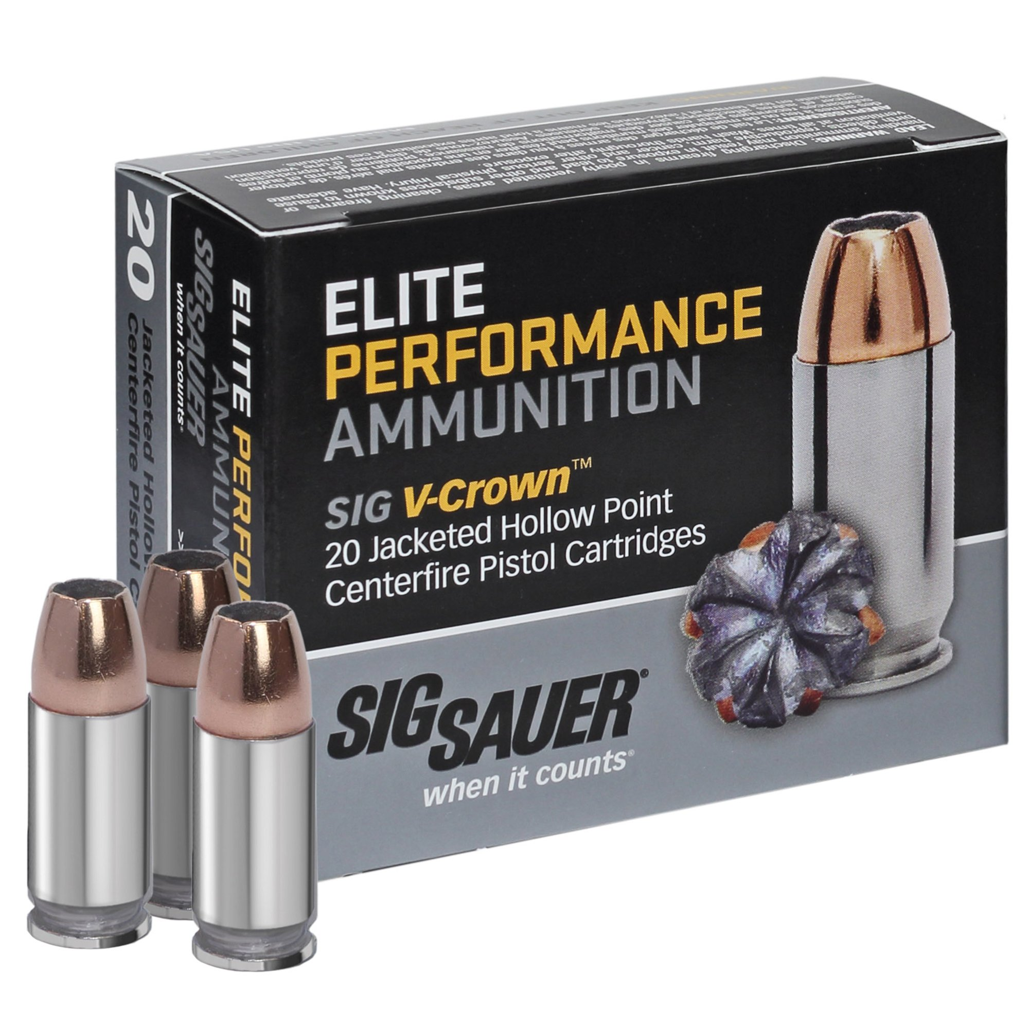 SIG Sauer Elite Performance V-Crown Ammo, 9mm Luger, 115-gr, JHP thumbnail