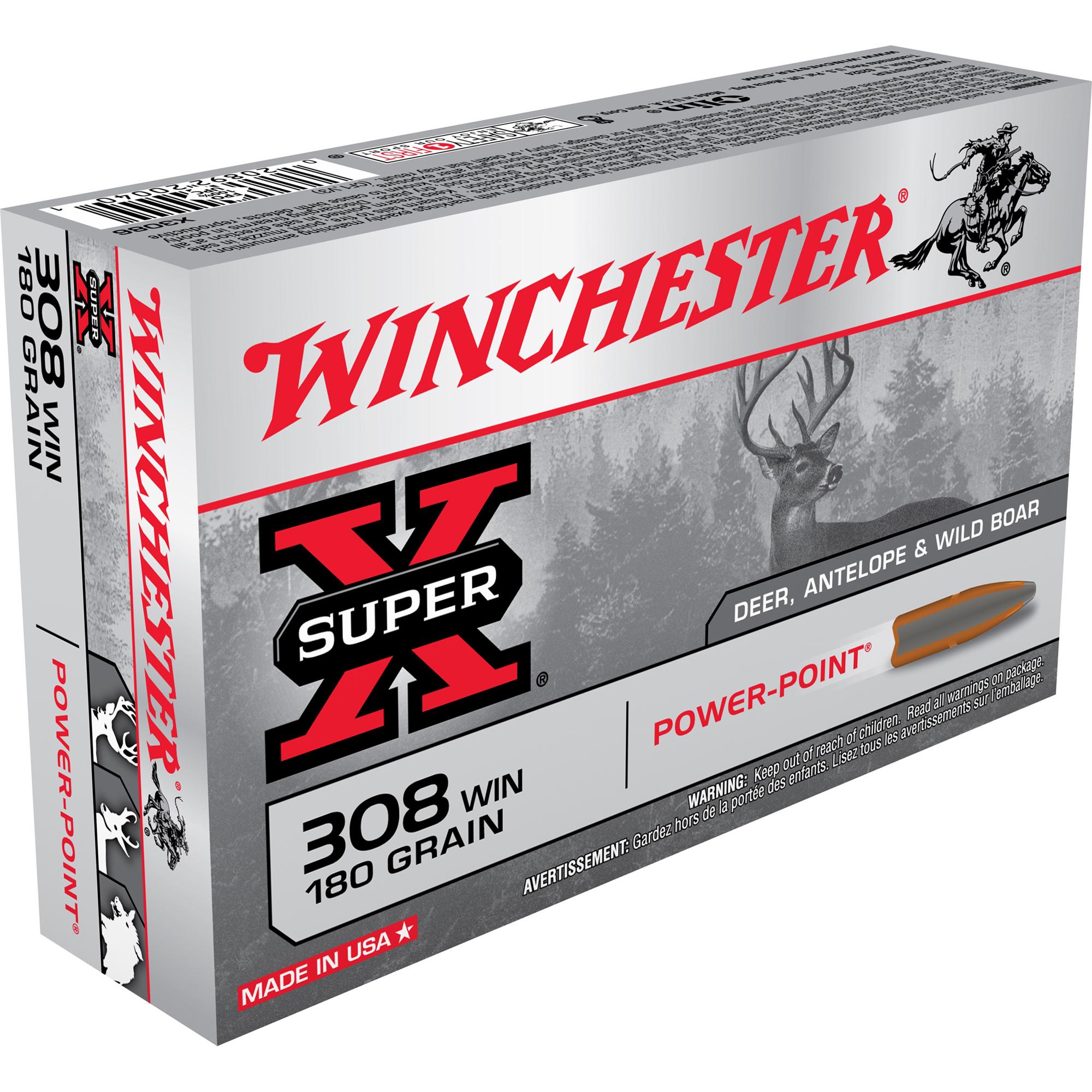 Winchester Super-X Rifle Ammo, .308 Win, 180-gr, PP