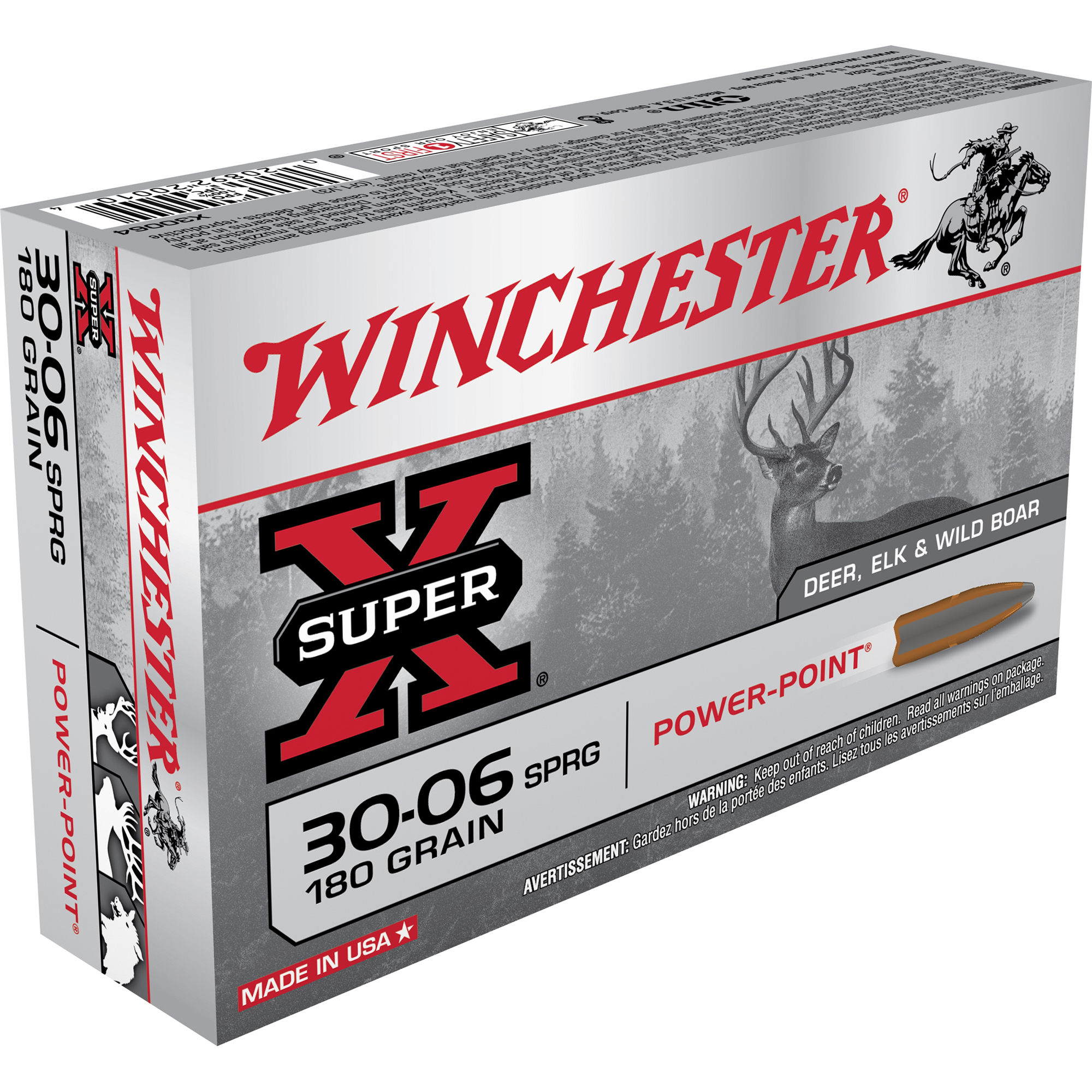 Winchester Super-X Rifle Ammo, .30-06 Spring, 180-gr, PP