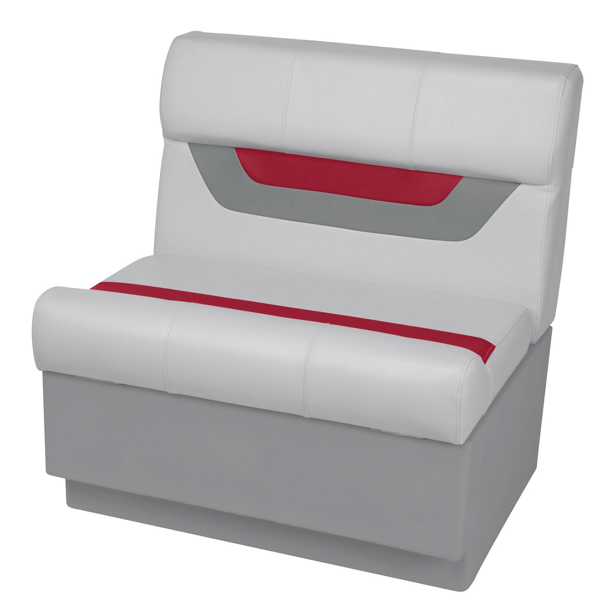 "Toonmate Designer Pontoon 27"" Wide Bench Seat - TOP ONLY - Sky Gray/Dark Red"