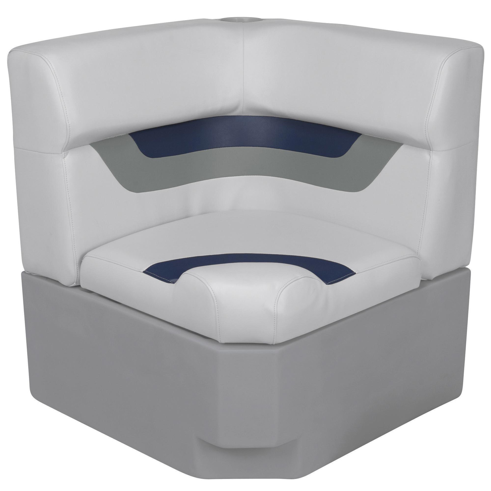 Toonmate Designer Pontoon Corner Section Seat - TOP ONLY - Sky Gray/Navy
