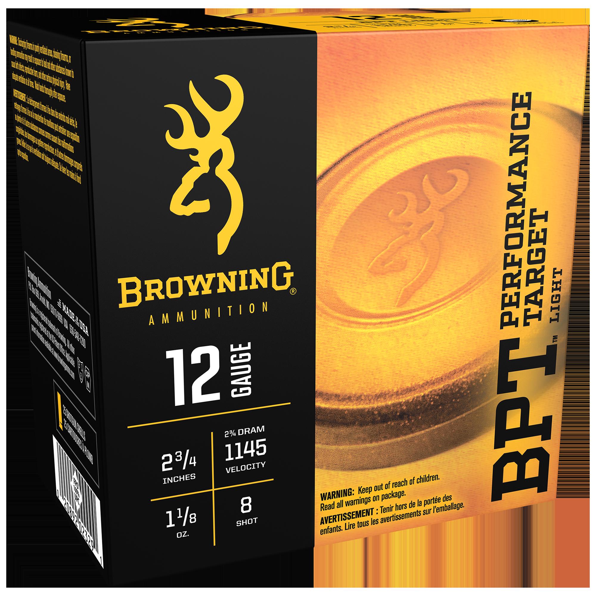 Browning BPT Performance Target Shotshell Loads, 12-ga, 2-3/4″, 1-1/8 oz, #8