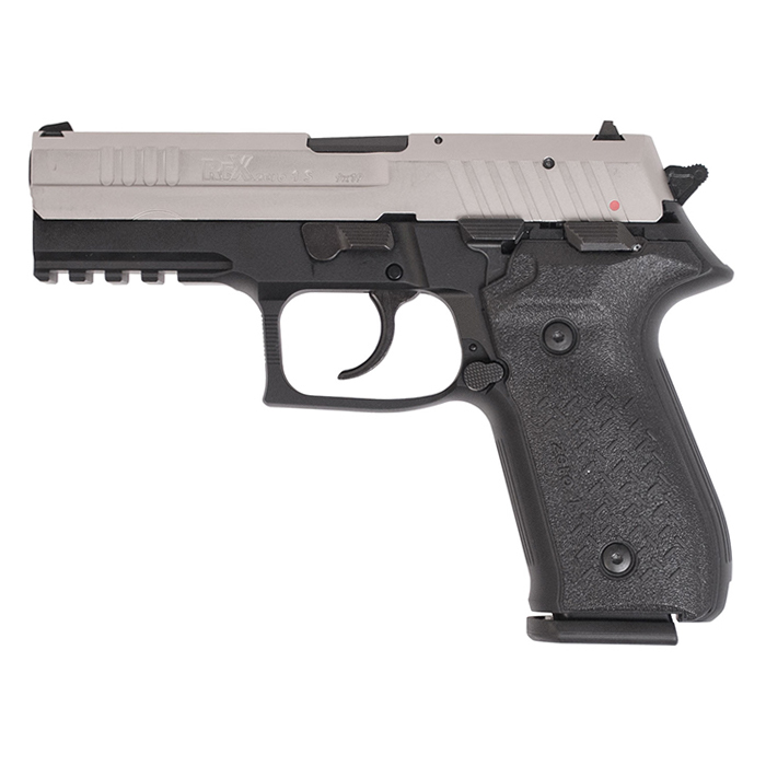 Arex Rex Zero 1 Standard Handgun, Black Frame w/Nickel-Plated Slide, 9mm