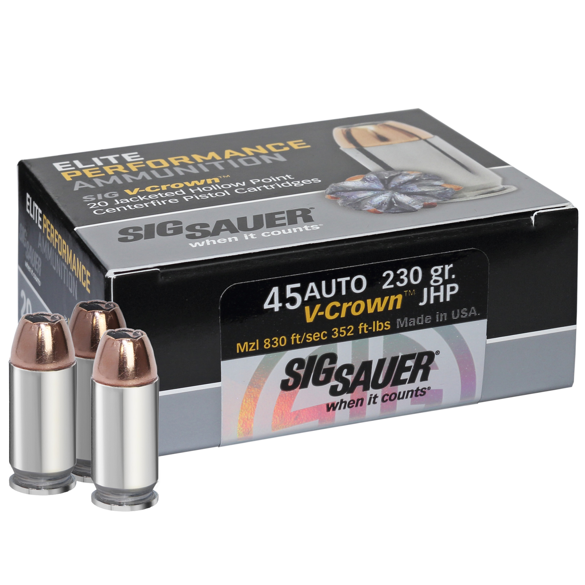 SIG Sauer Elite Performance V-Crown Ammo, .45 ACP, 230-gr, JHP