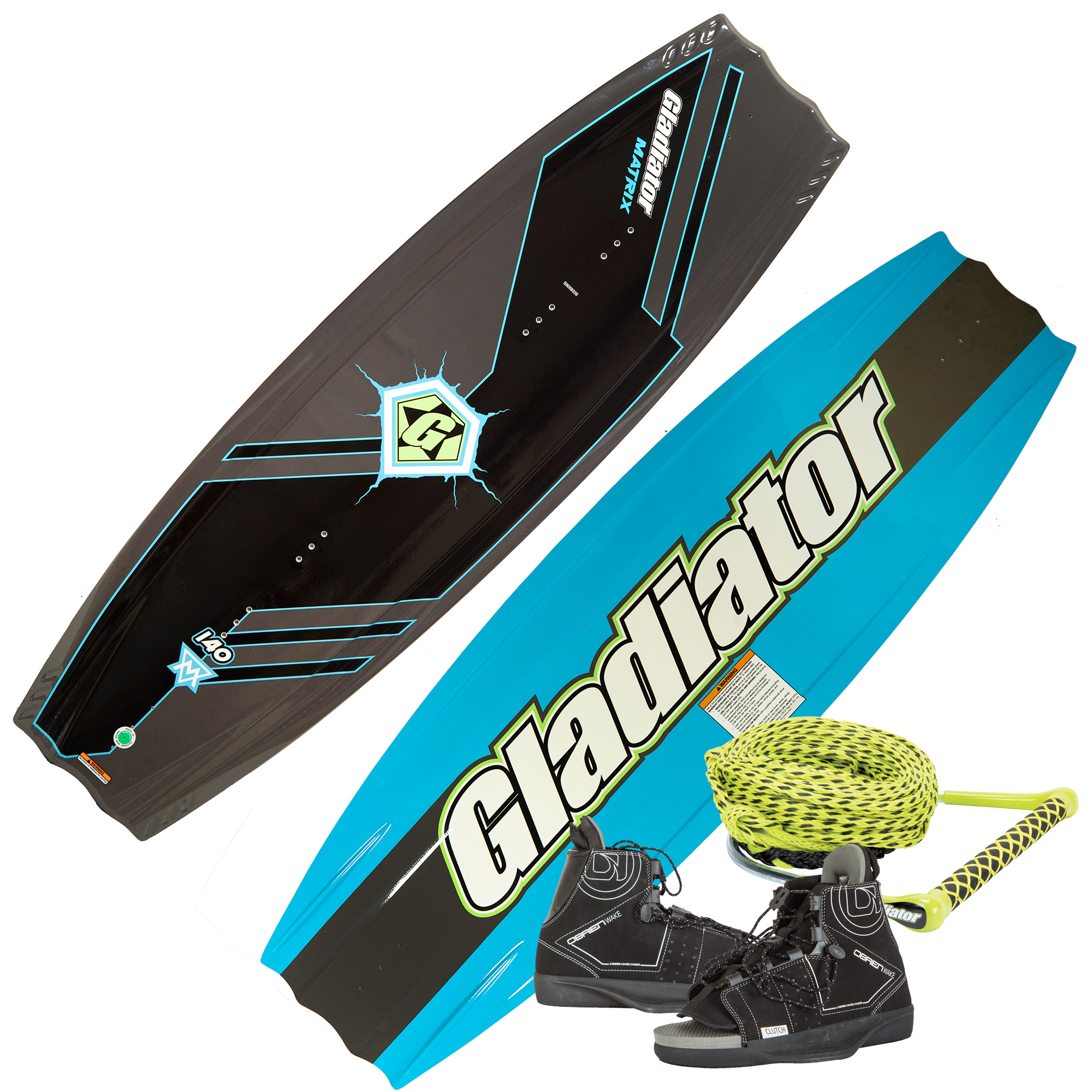Gladiator Matrix 140 Wakeboard With Clutch Bindings And Rope