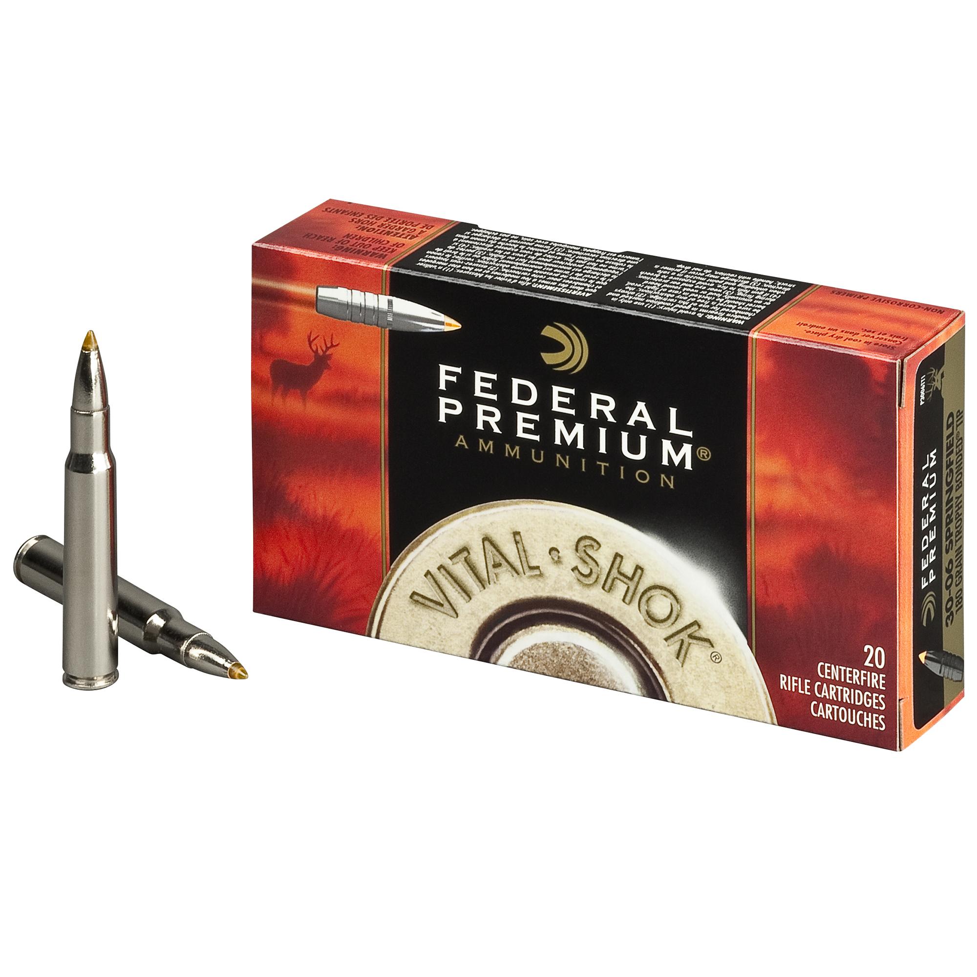 Federal Premium Vital-Shok Trophy Bonded Tip Rifle Ammo, .30-06 Spring, 165-gr.