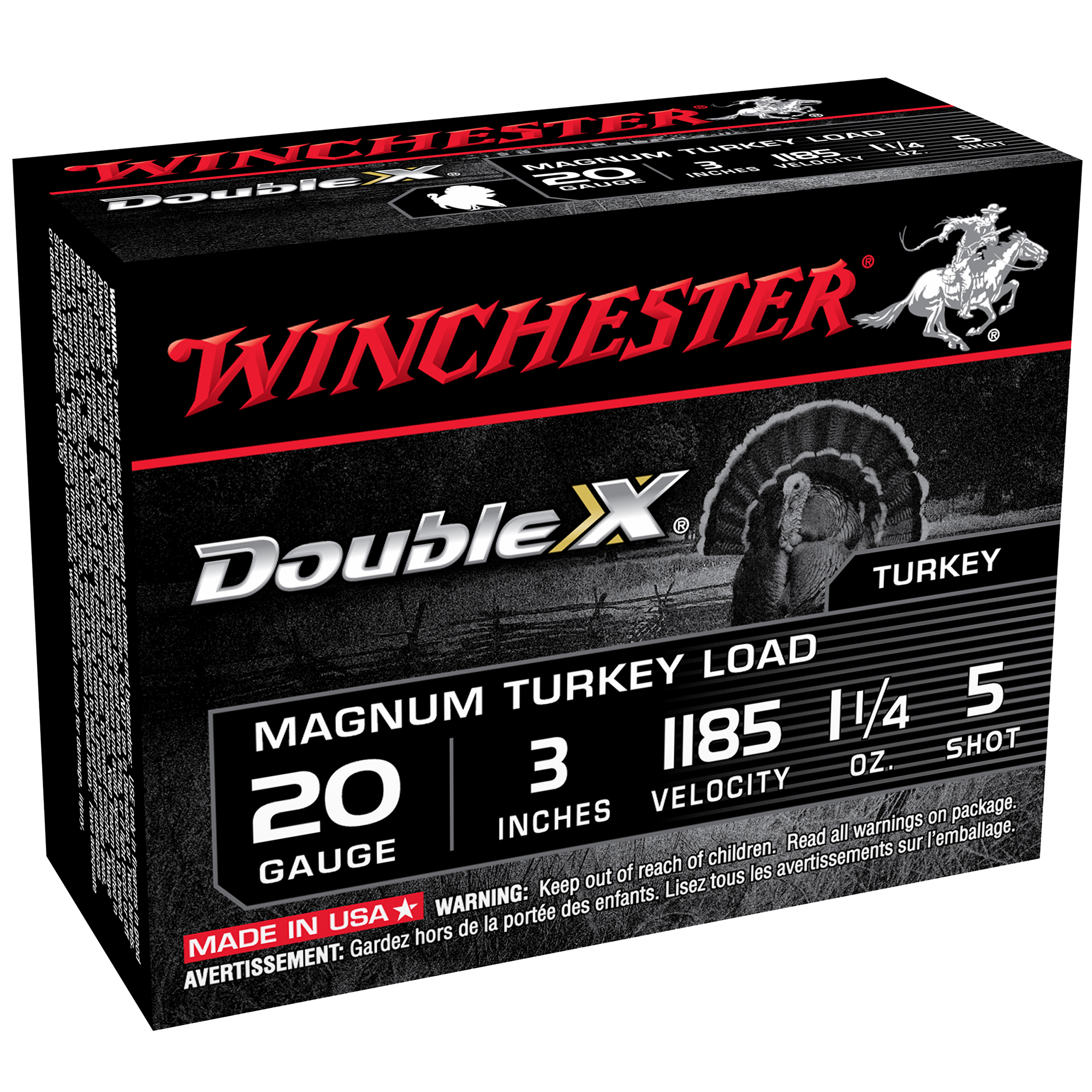 Winchester Double X Turkey Loads, 20-ga, 3″, 1-1/4 oz, #5