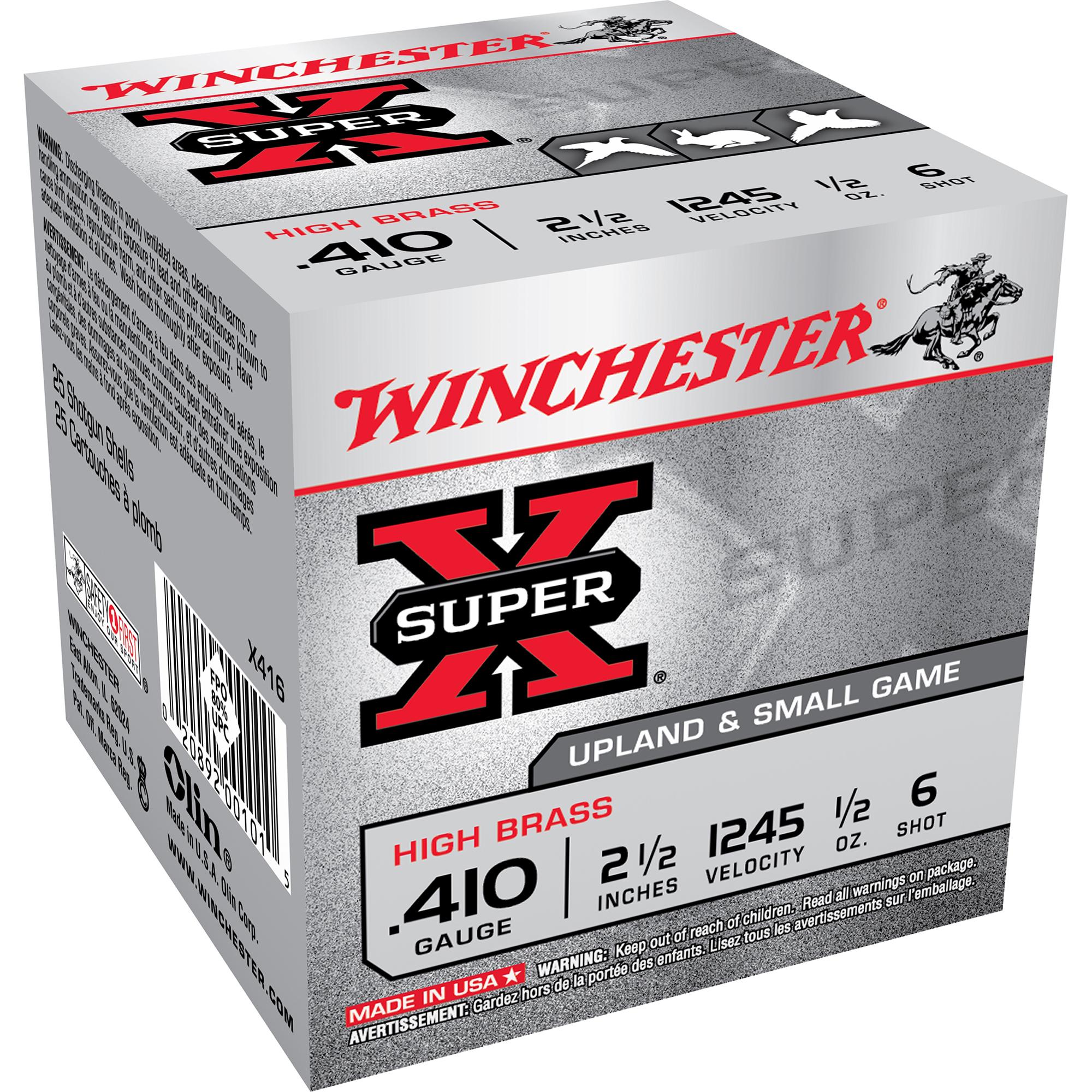 Winchester Super-X High Brass Ammo, .410 bore, 2-1/2″, 1/2-oz, #6