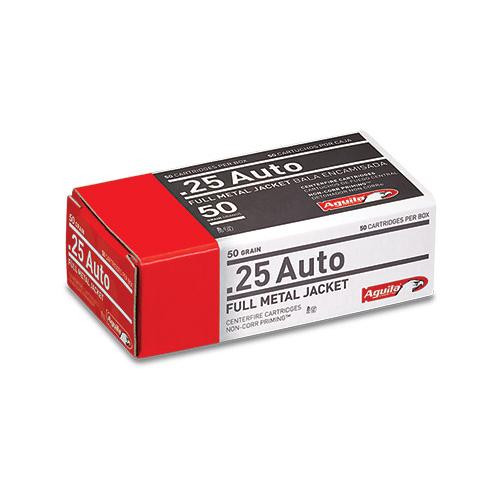 Aguila Centerfire Pistol Ammo, .25 ACP FMJ, 50-gr., 50-Rounds