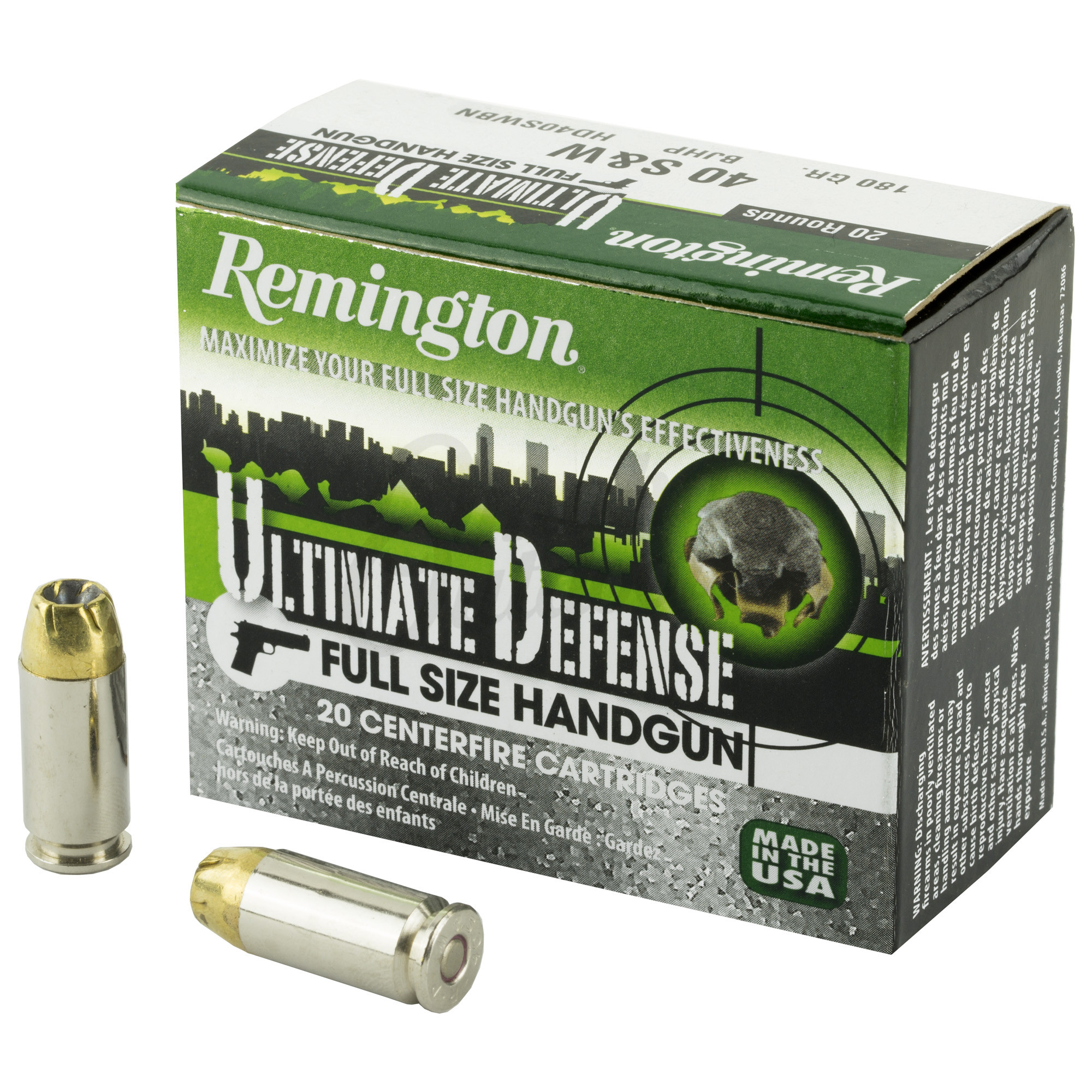 Remington Ultimate Defense Ammo, .40 S & W, 180 Gr, BJHP