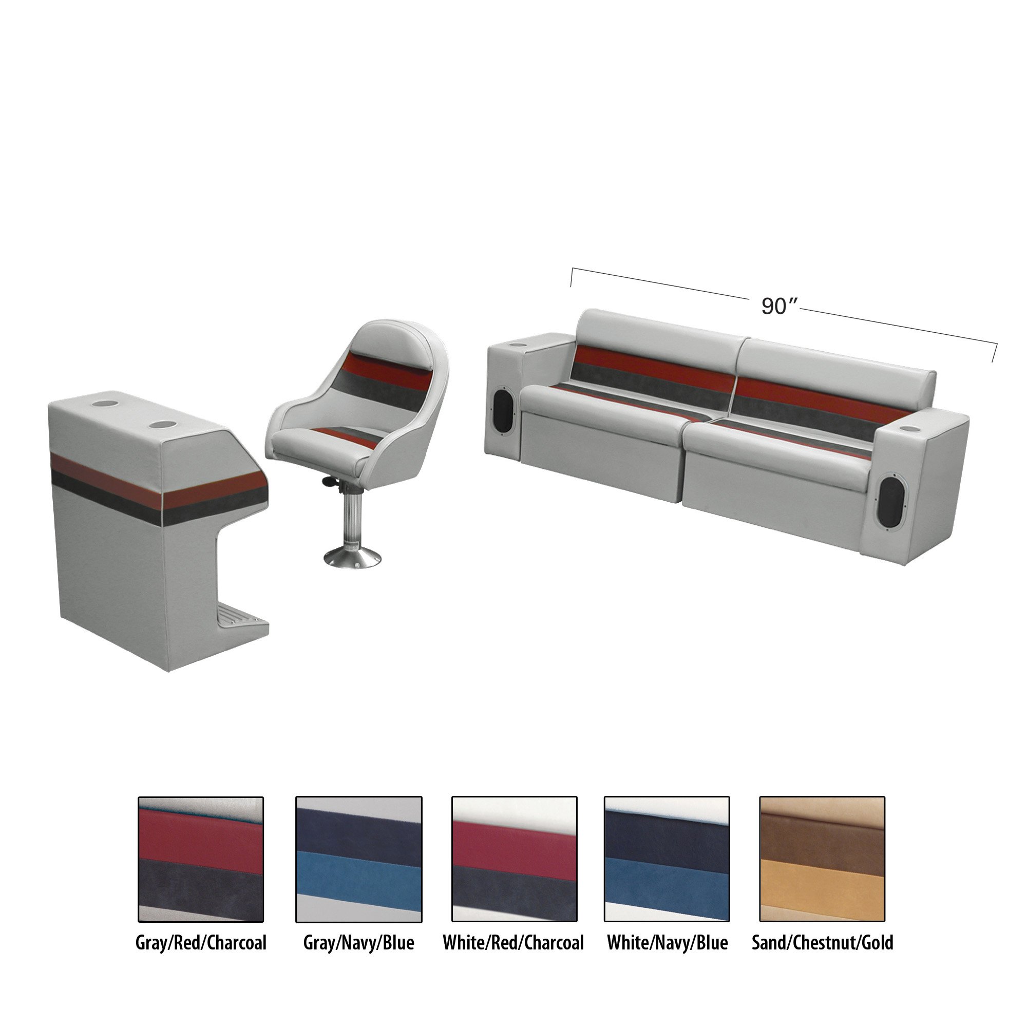 Toonmate Deluxe Pontoon Furniture w/Classic Base(no toe kick)-Rear Basic Package