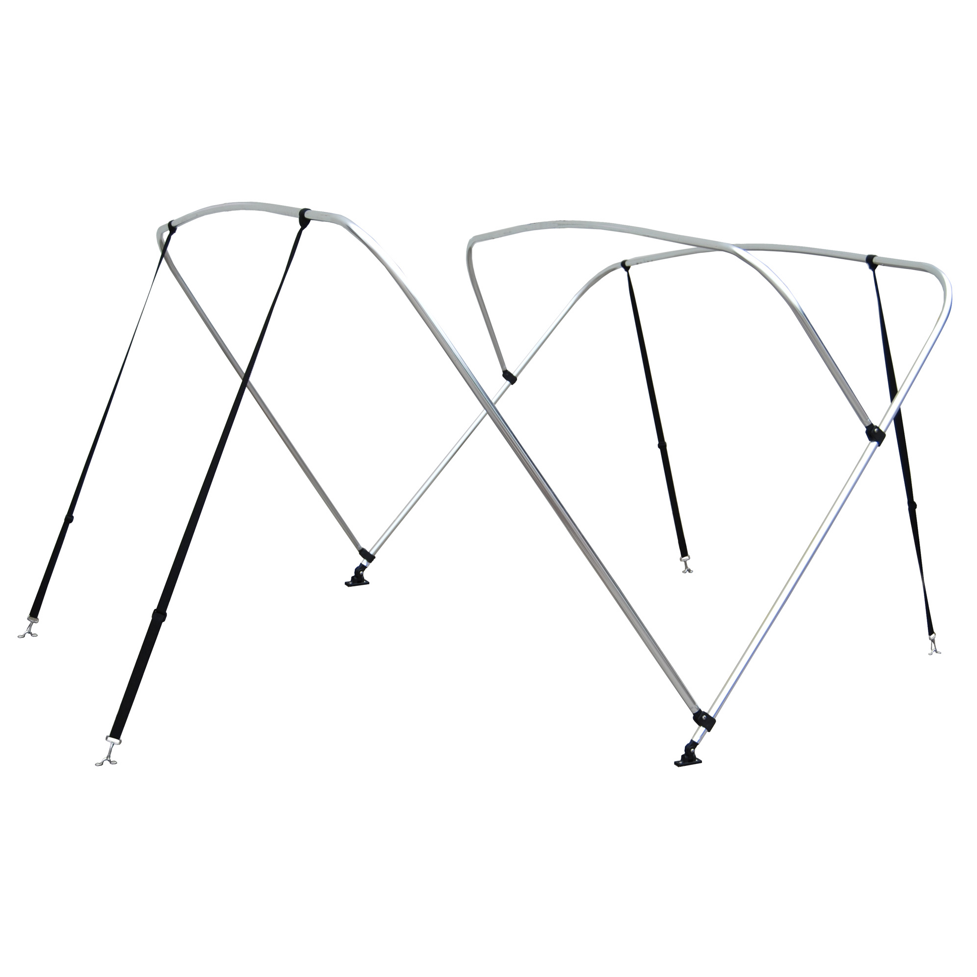 Shademate White Vinyl Stainless 4-Bow Bimini Top 8'L x 54''H 61''-66'' Wide