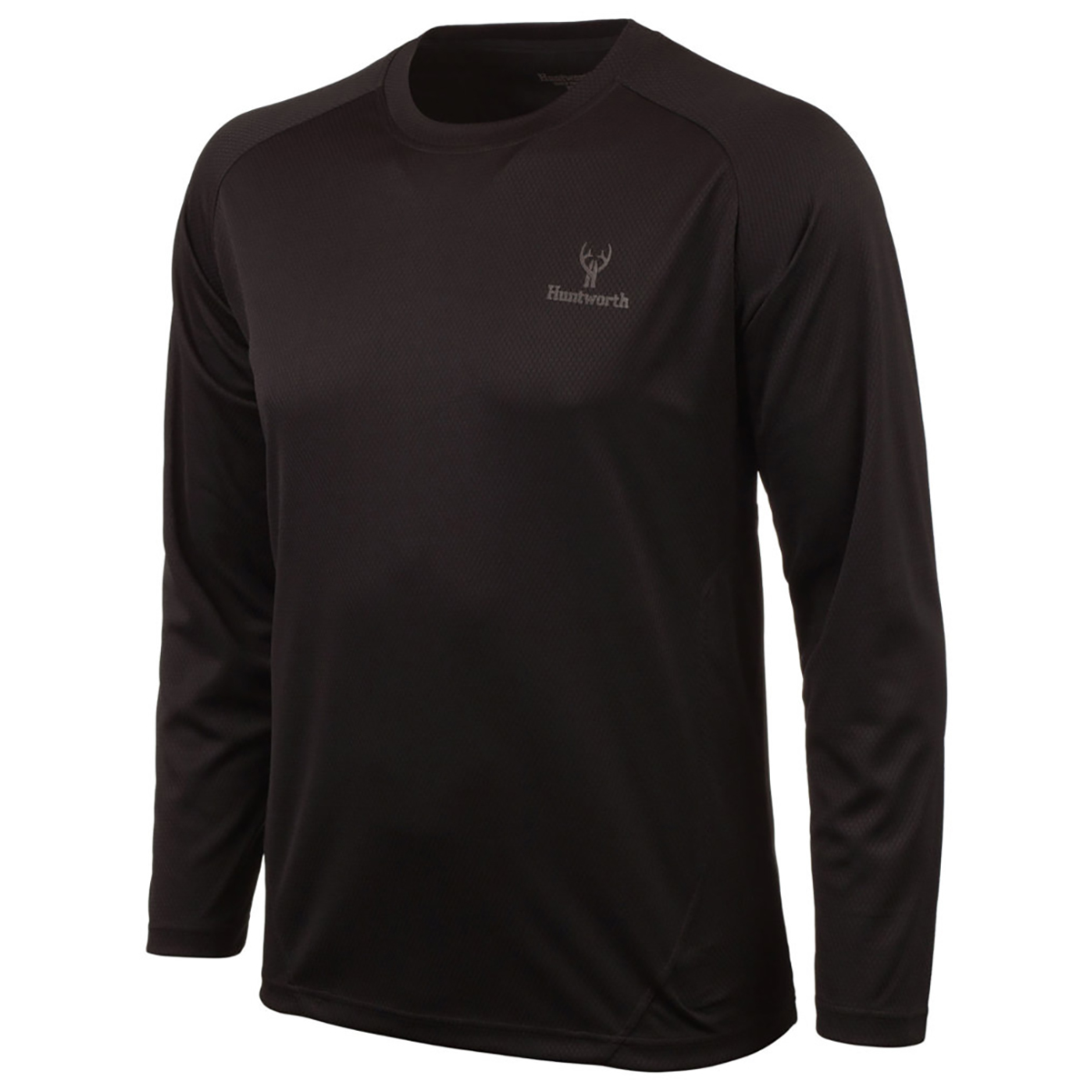 Huntworth Men's Bird's Eye Mesh Long-Sleeve Shirt, Black