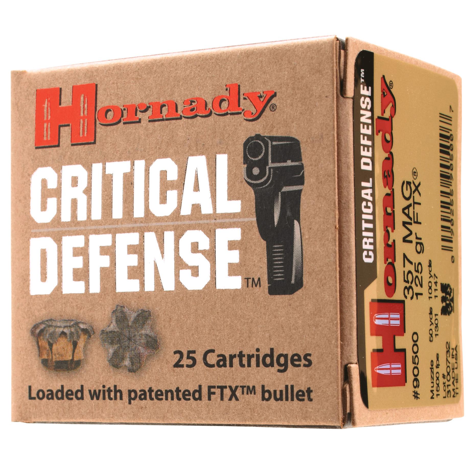 Hornady Critical Defense Handgun Ammo, .45 ACP, 185-gr, FTX, 25 Rounds