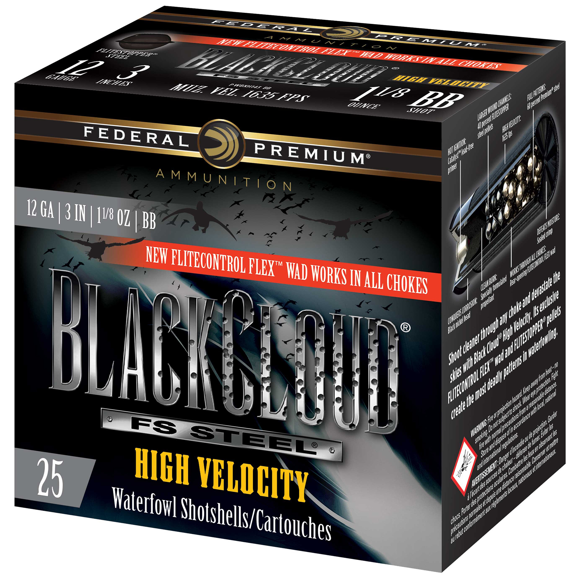 Federal Premium Black Cloud FS Steel High Velocity Loads, 12-ga, 3″, 1-1/8 oz.