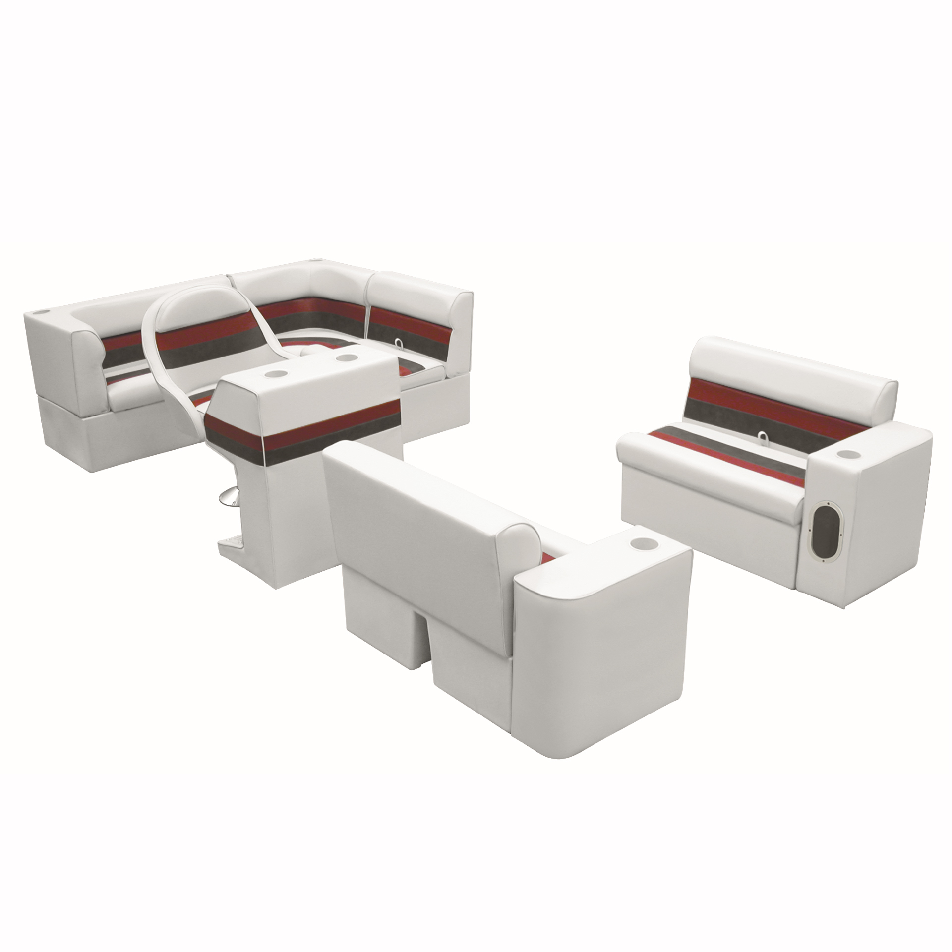 Deluxe Pontoon Furniture w/Classic Base - Complete Boat Package C, White/Red/Cha