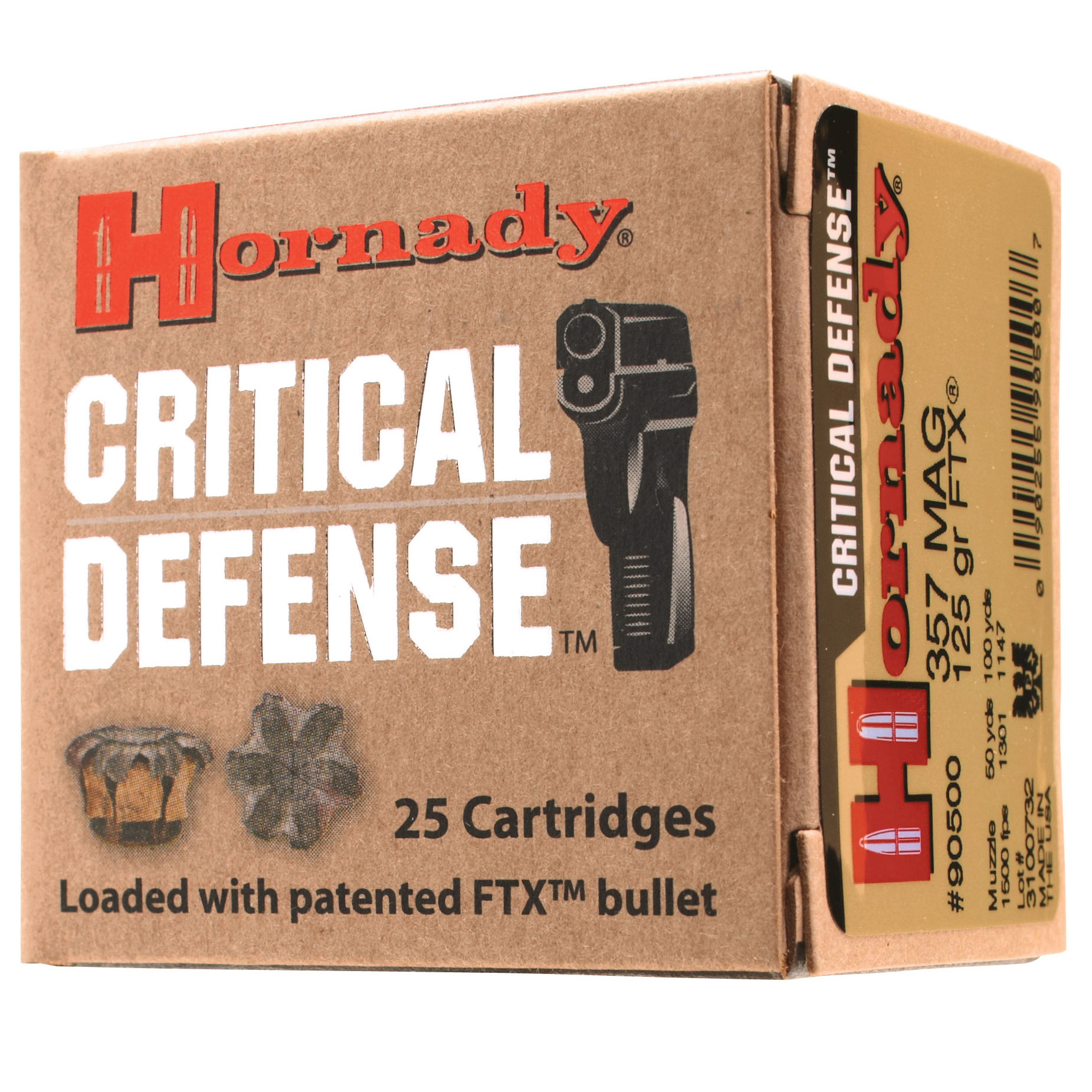 Hornady Critical Defense Handgun Ammo, .380 ACP, 90-gr, FTX, 25 Rounds