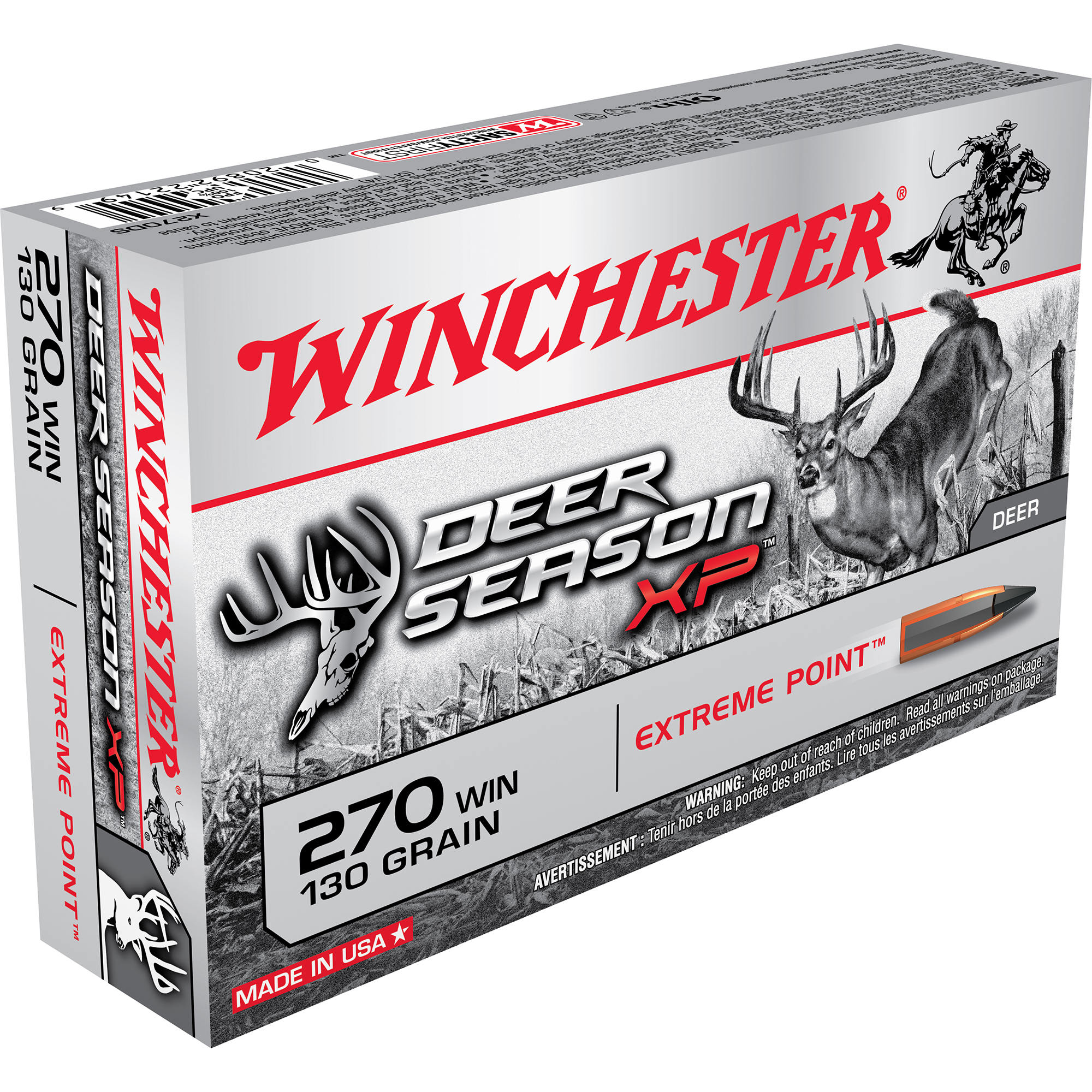 Winchester Deer Season XP Rifle Ammo, .270 Win, 130-gr, Extreme Point
