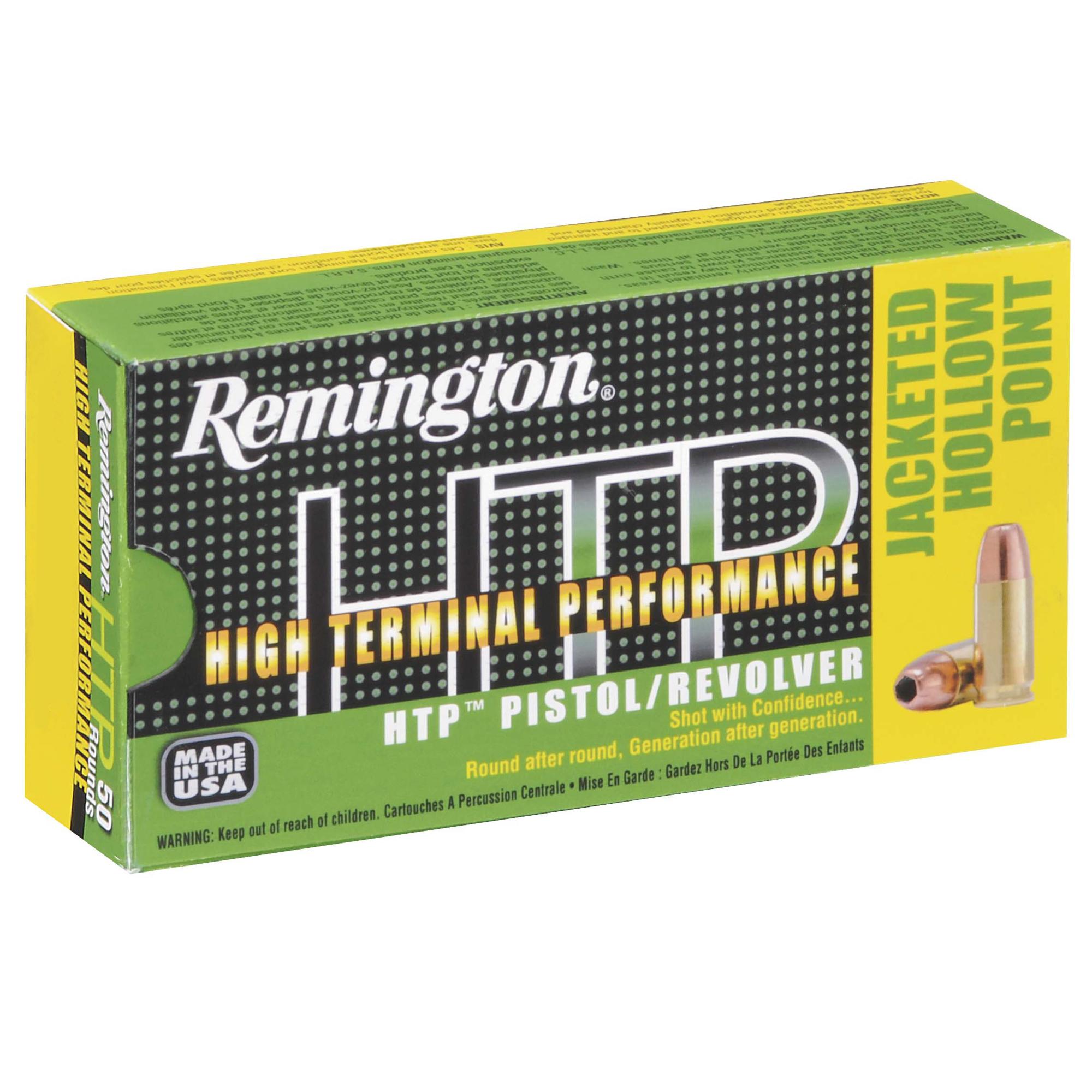 Remington HTP Jacket Hollow Point Handgun Ammo, 9mm Luger +P, 115-gr, JHP