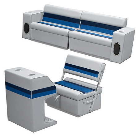 Deluxe Pontoon Furniture w/Toe Kick Base - Rear Group 7 Package, Gray/Navy/Blue