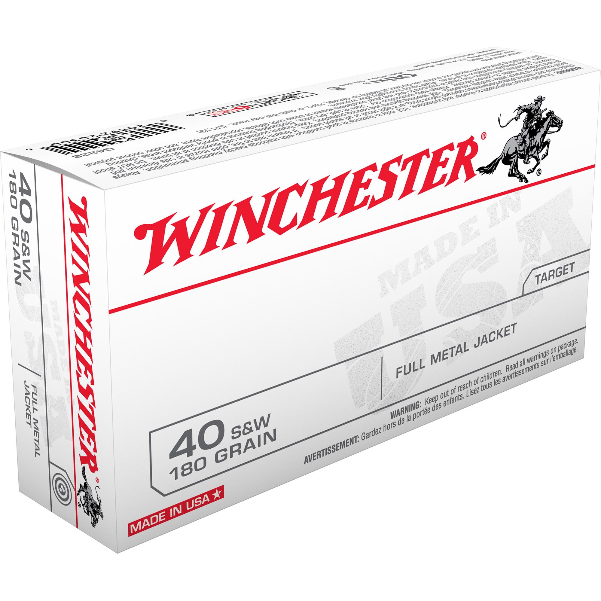 Winchester USA Handgun Ammo, .40 S & W, 180-gr, FMJ