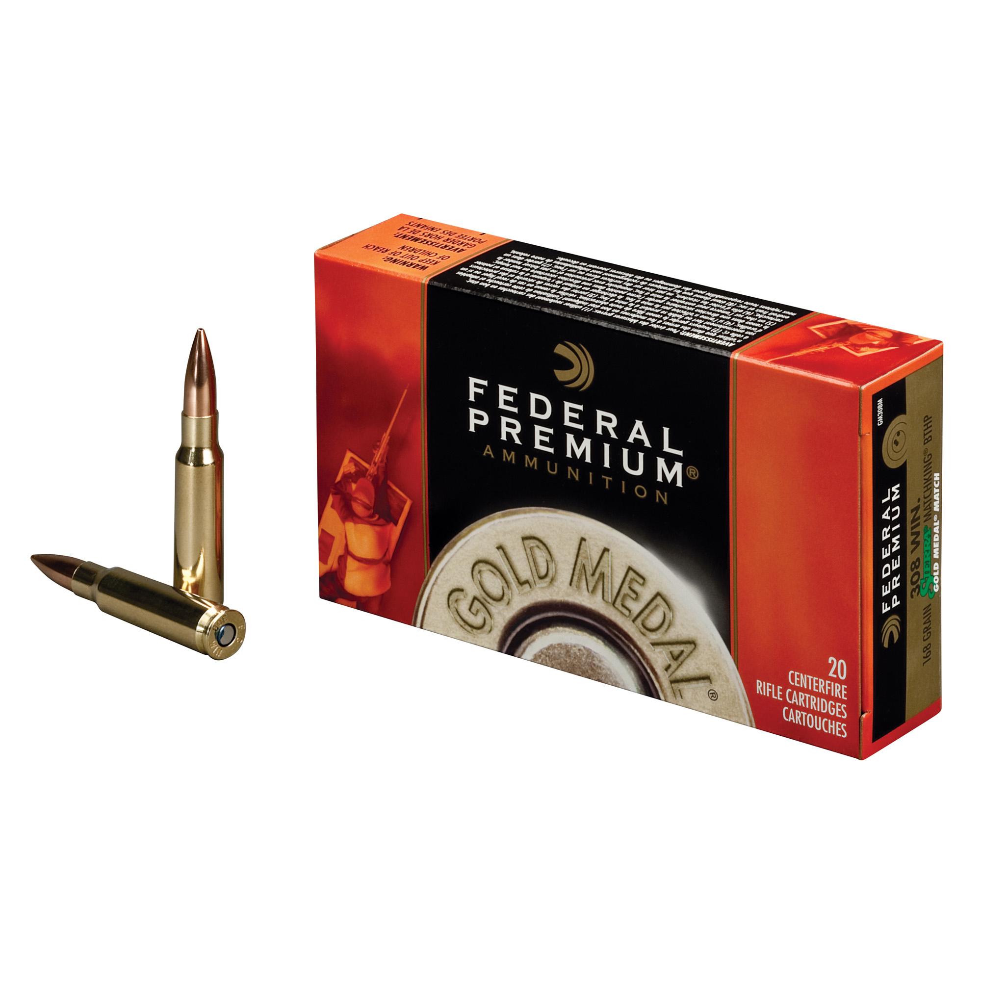 Federal Premium Gold Medal Ammo, .308 Win, 168-gr, SMK-BTHP