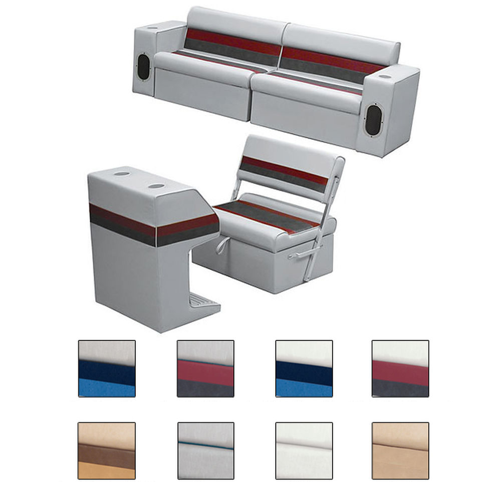 Deluxe Pontoon Furniture w/Classic Base - Rear Group Package M, White/Navy/Blue