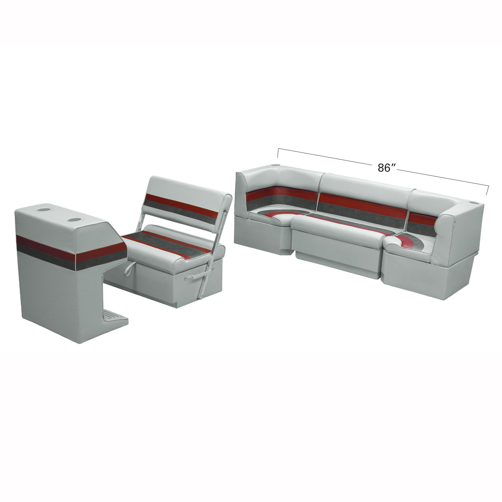 Deluxe Pontoon Furniture w/Toe Kick Base - Rear Cozy Package, Gray/Red/Charcoal