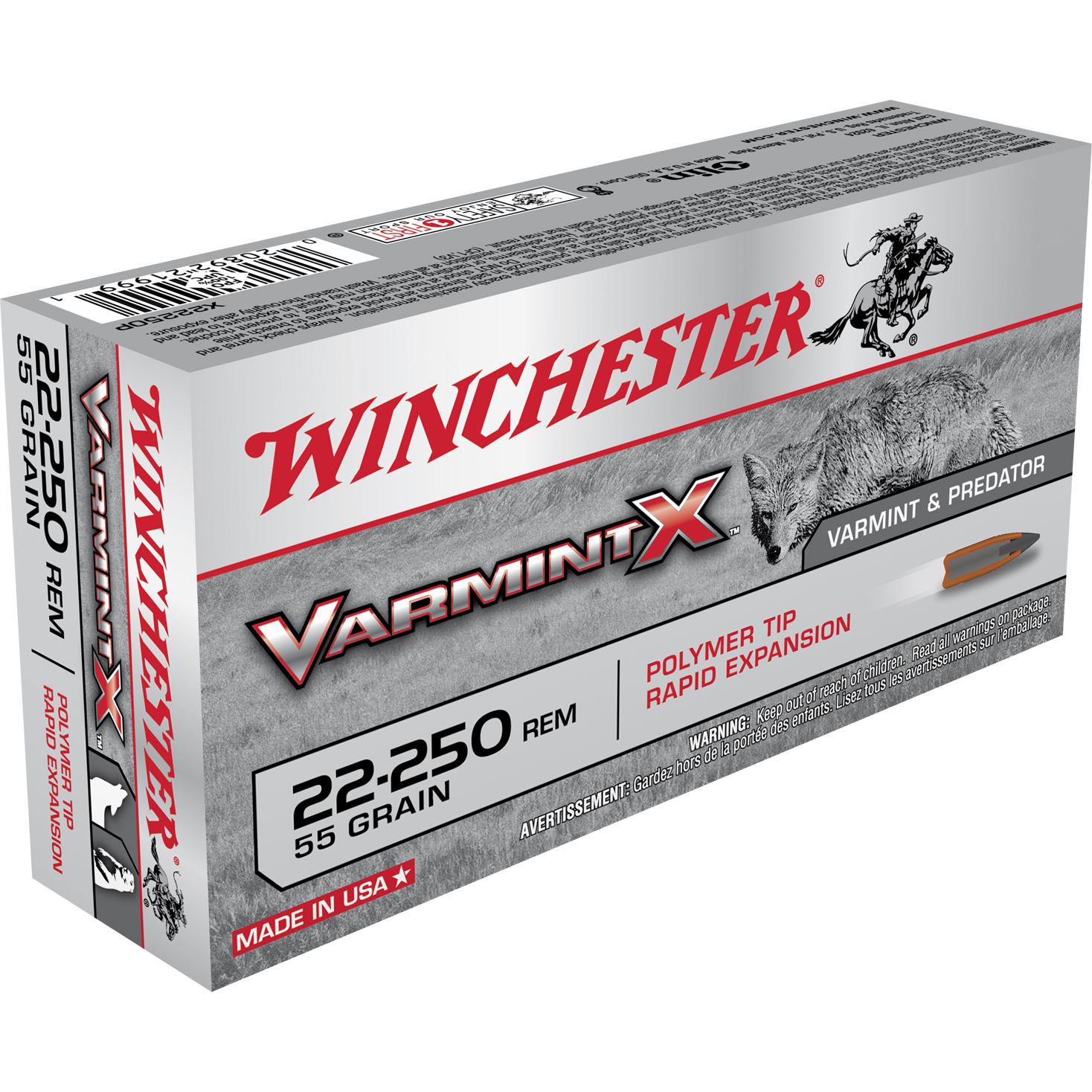 Winchester Varmint X Ammo, .22-250 Rem, 55-gr, Polymer Tip