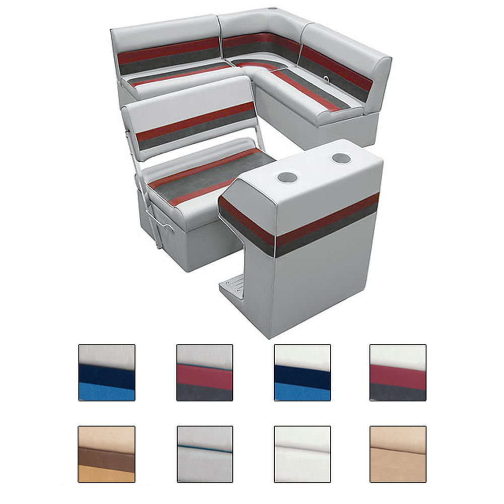 Deluxe Pontoon Furniture w/Classic Base - Rear Group Package E, White/Navy/Blue