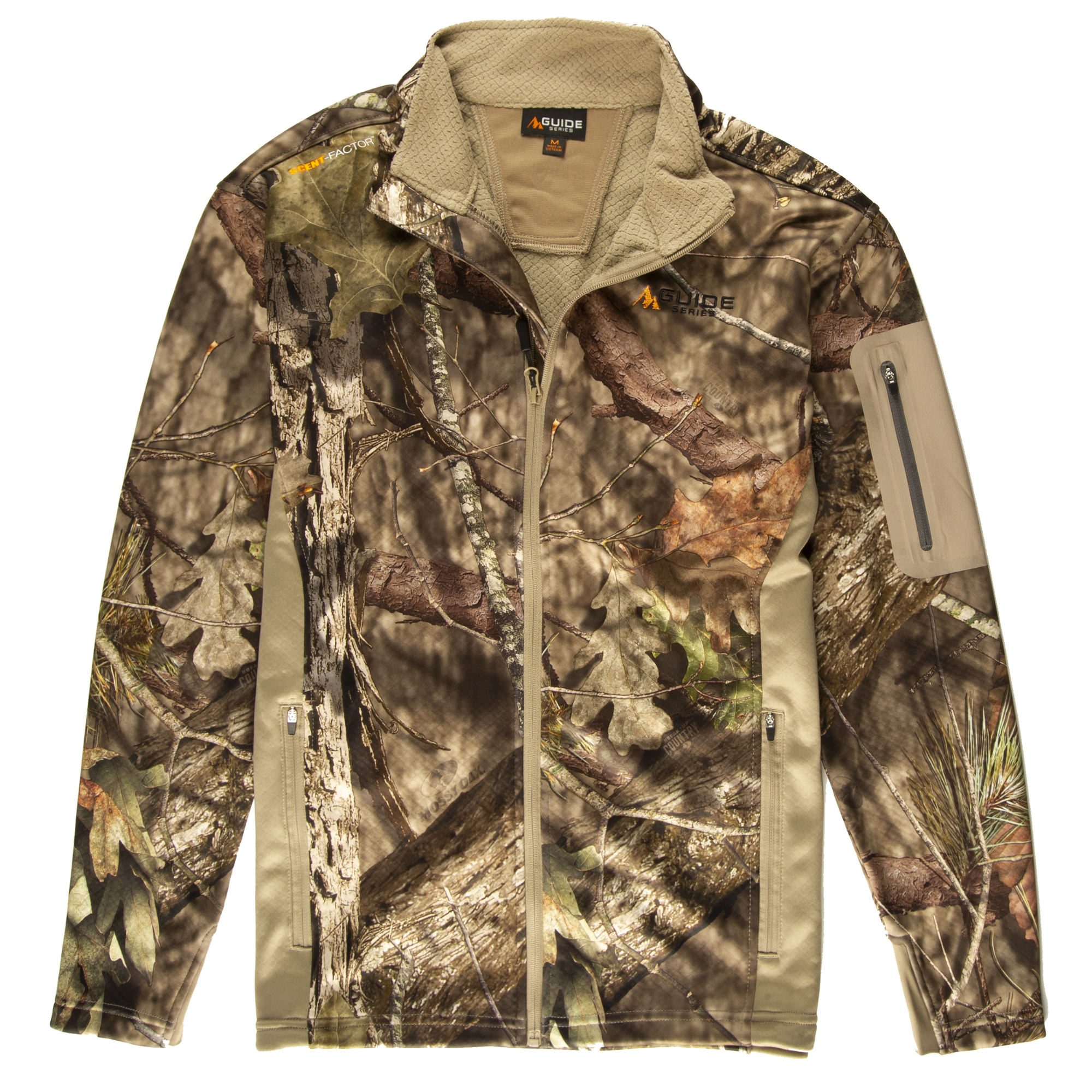 Guide Series Men's Techshell Camo Full-Zip Jacket, Mossy Oak Break-Up Country