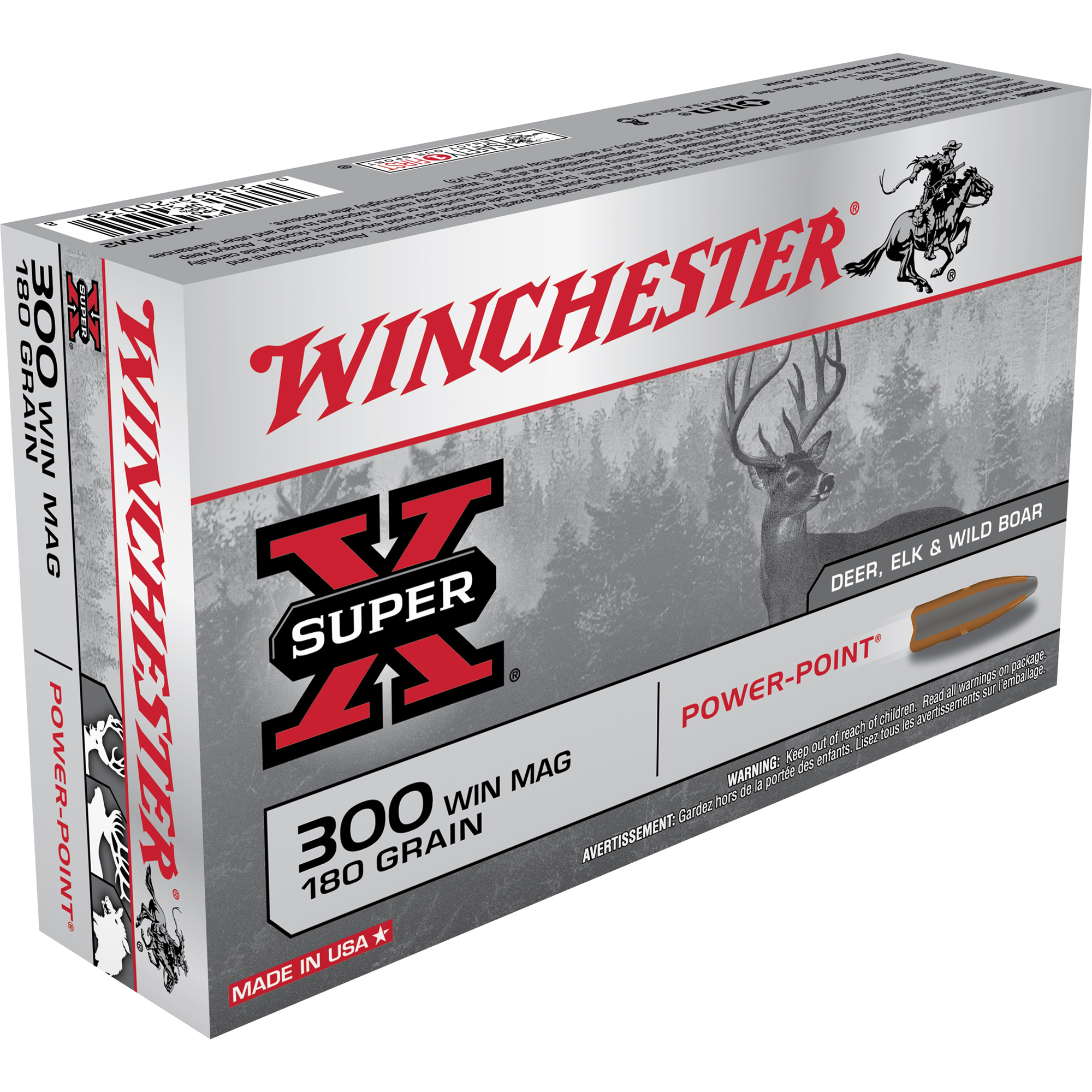 Winchester Super-X Rifle Ammo, .300 Win Mag, 180-gr, PP
