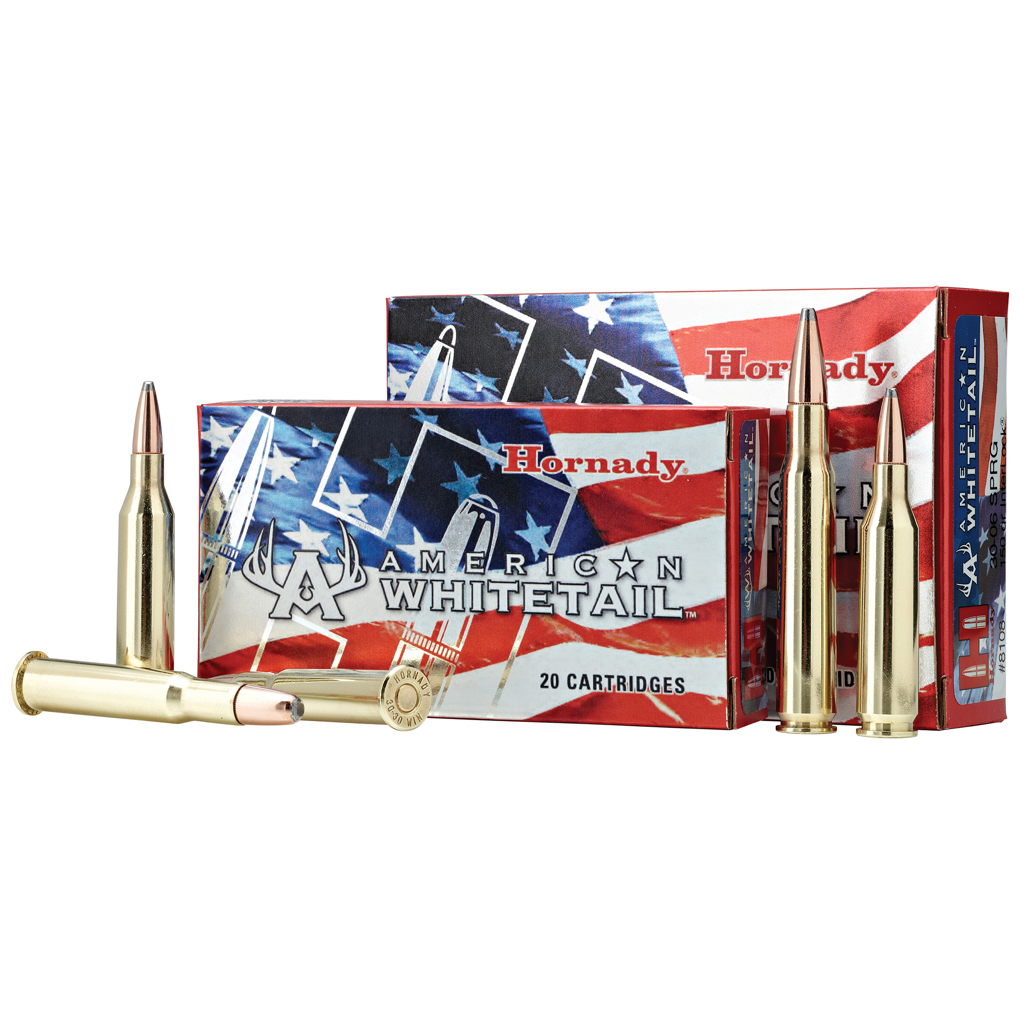 Hornady American Whitetail Rifle Ammo, .30-30 Win, 150-gr, RN InterLock