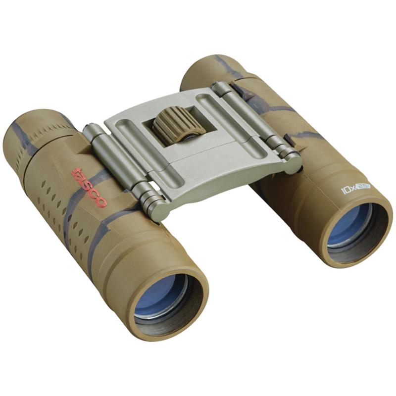 Tasco 10×25 Essentials Roof Binoculars, Brown Camo