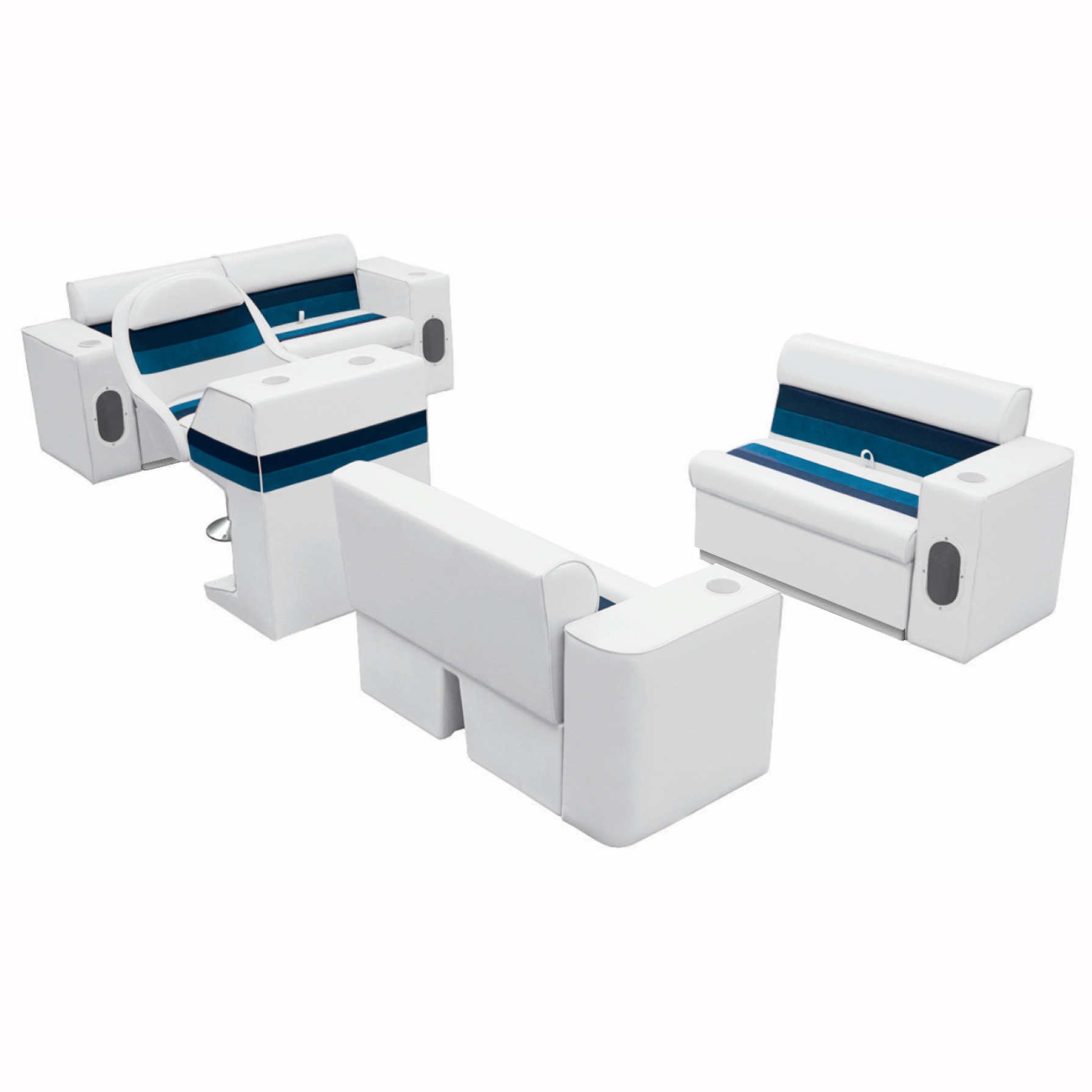 Deluxe Pontoon Seats w/Toe Kick Base, Complete Package Plus Stand, White/Navy/Bl