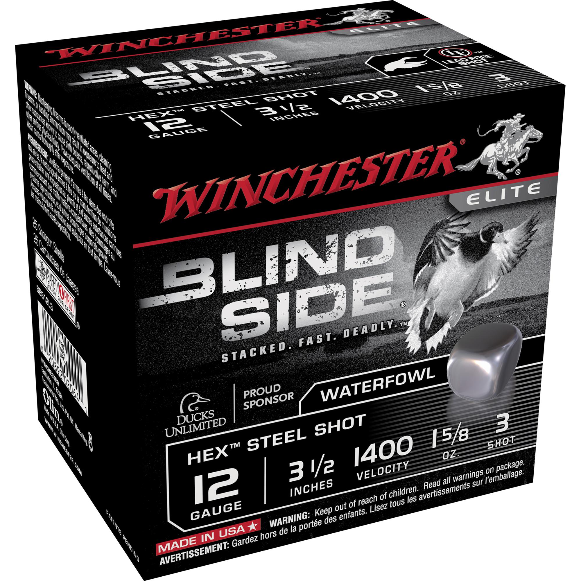 Winchester Blind Side Magnum Ammo, 12-ga, 3-1/2″, 1-5/8 oz, #3