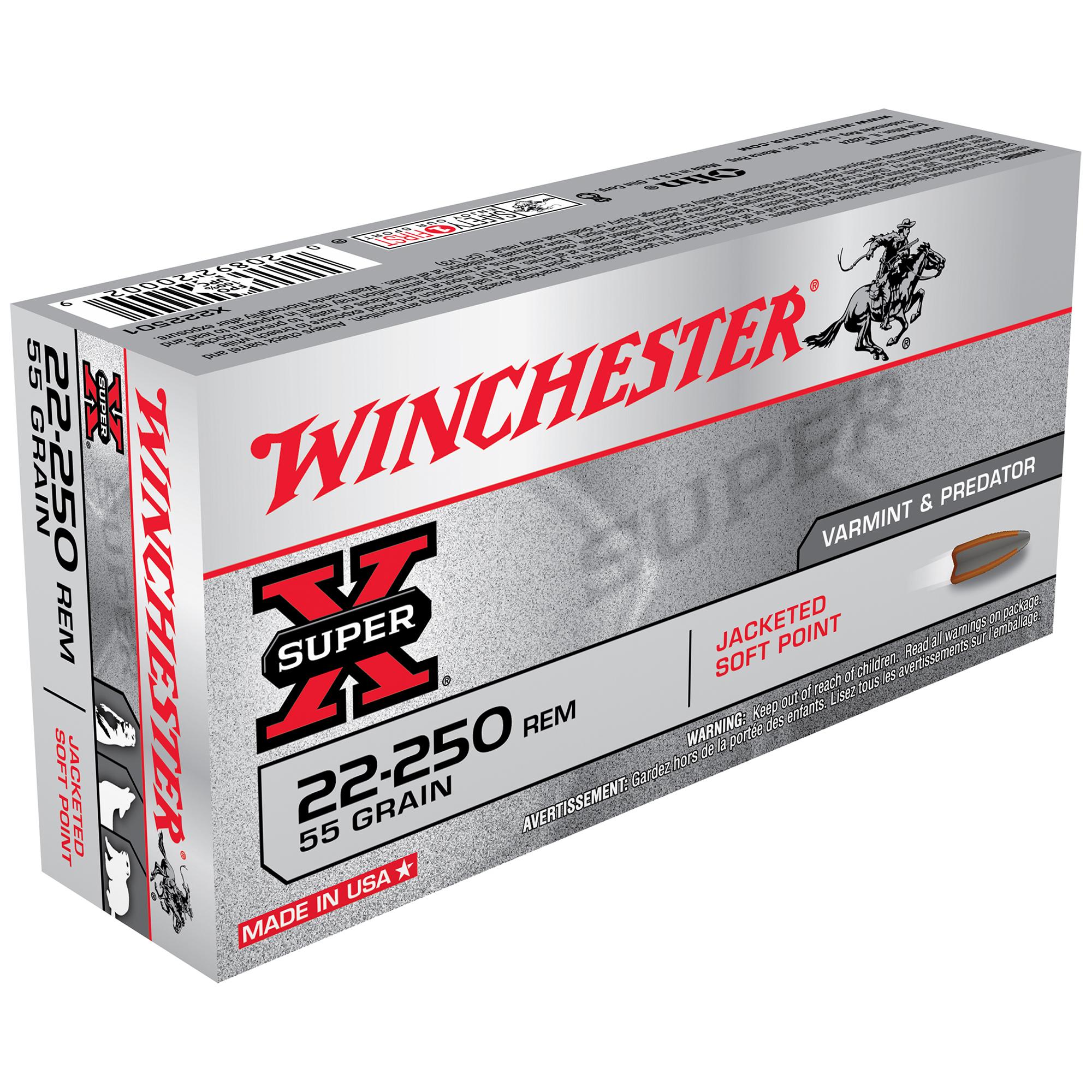 Winchester Super-X Rifle Ammo, .22-250 Rem, 55-gr, PSP