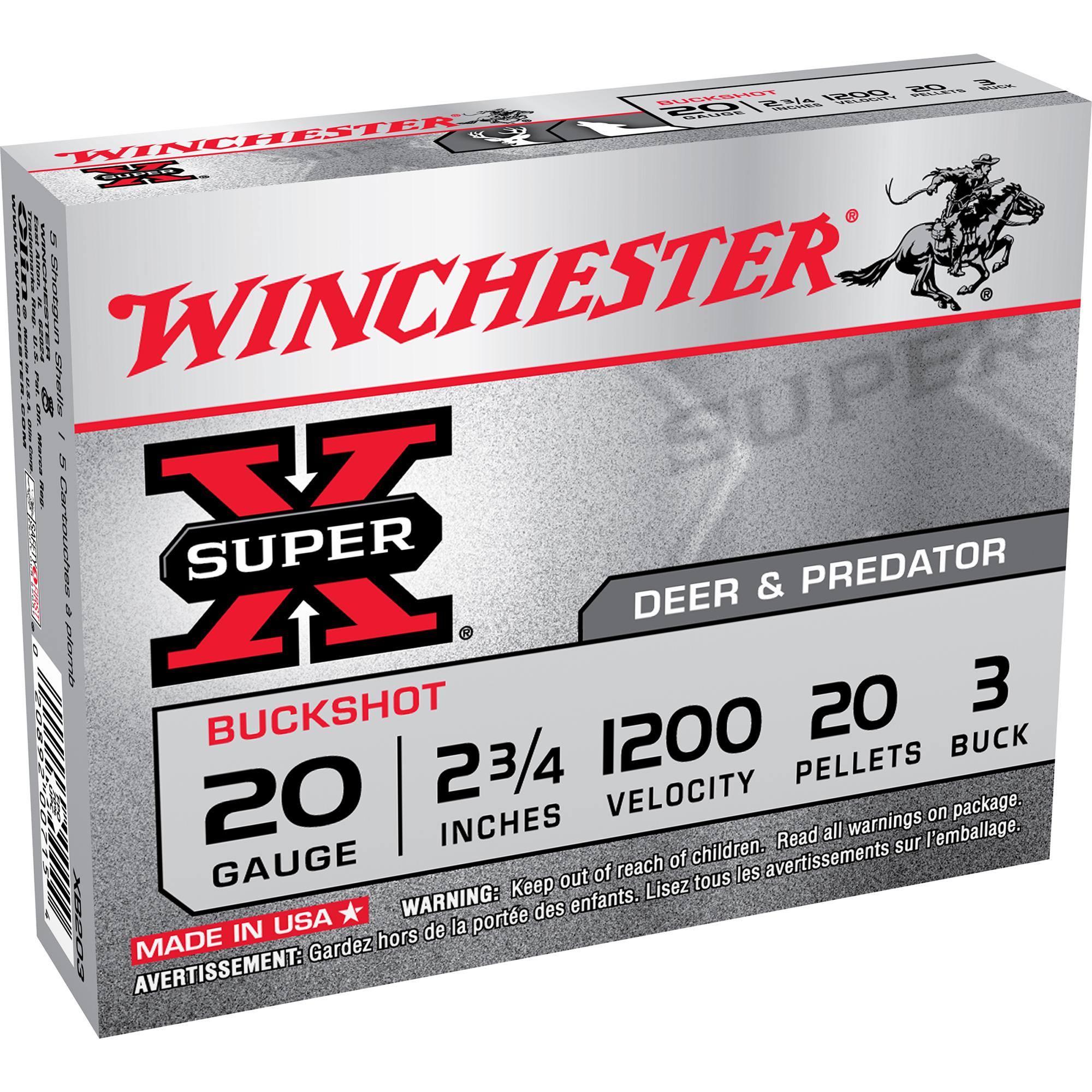 Winchester Super-X Buckshot, 20-ga, 2-3/4″, #3, 20 Pellets